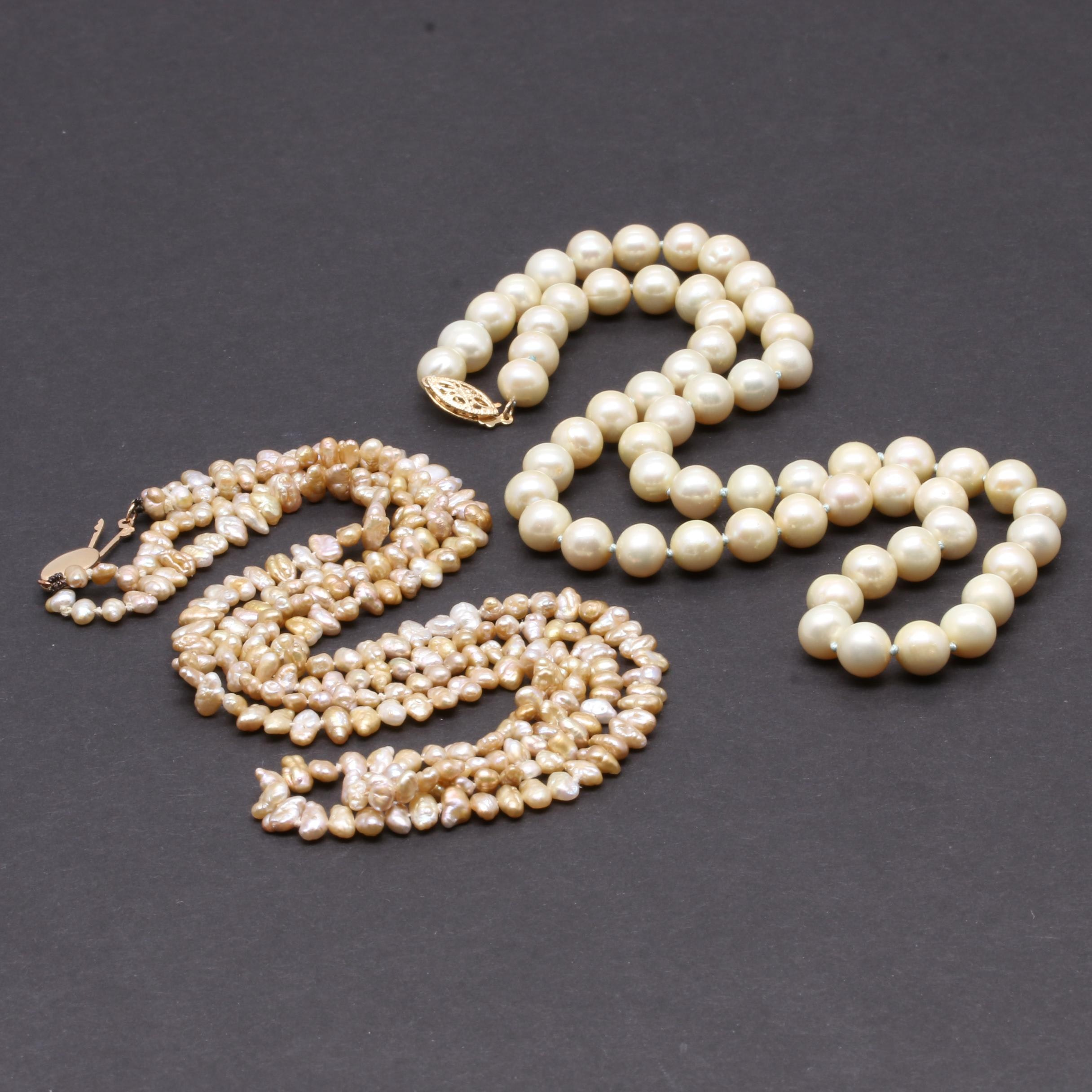14K Yellow Gold Cultured Pearl Necklaces