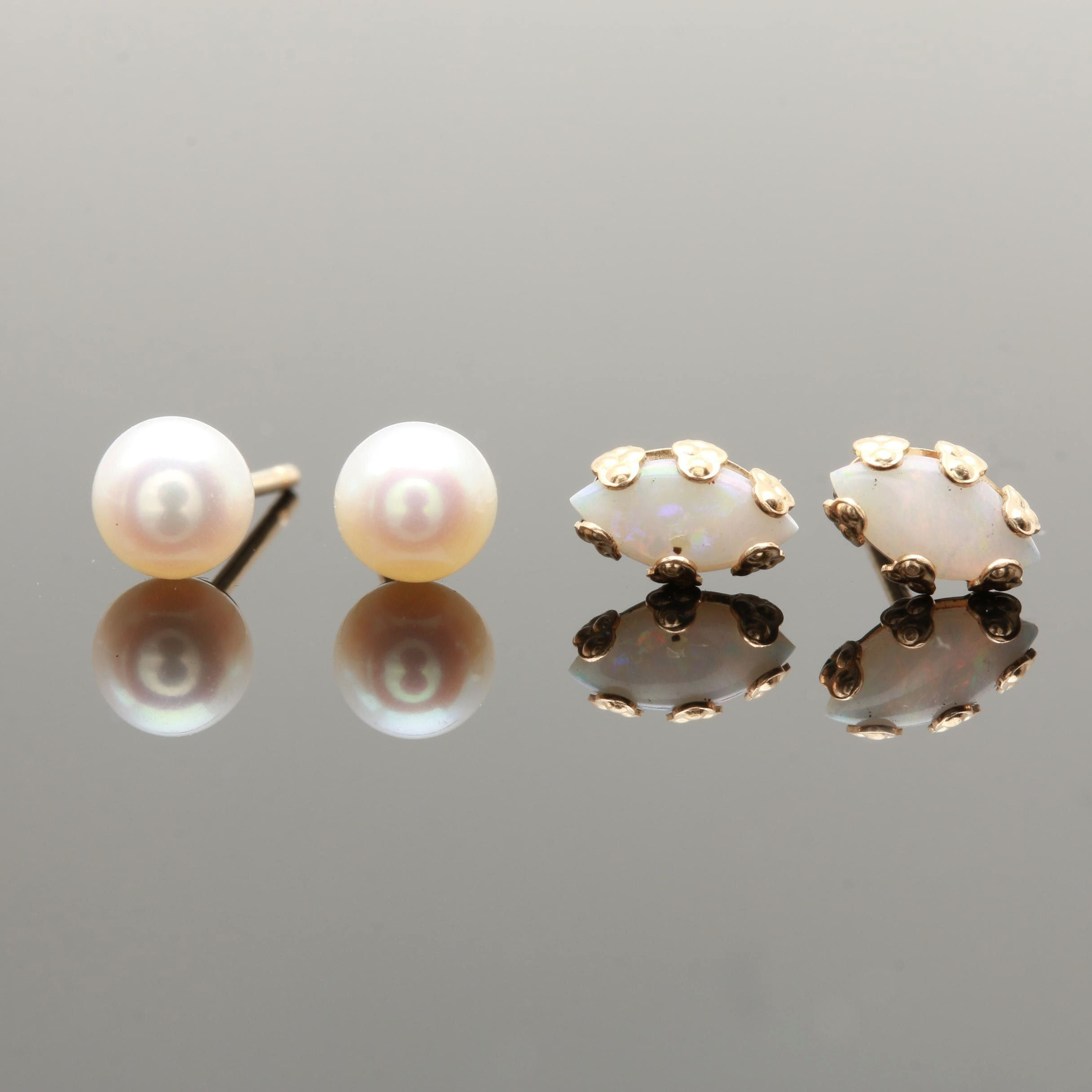 14K Yellow Gold Cultured Pearl and Opal Earrings