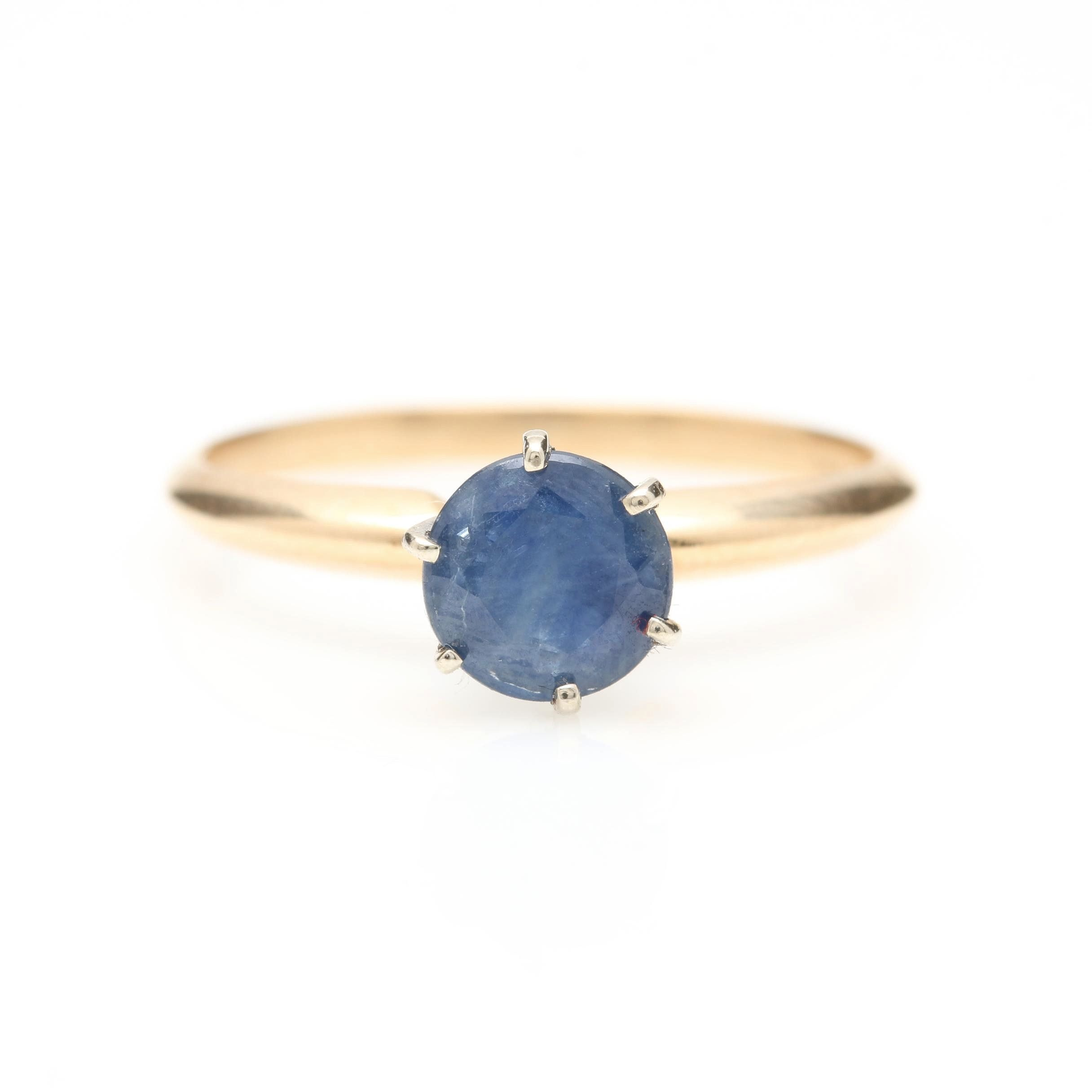 14K Yellow Gold Sapphire Solitaire Ring With White Gold Head