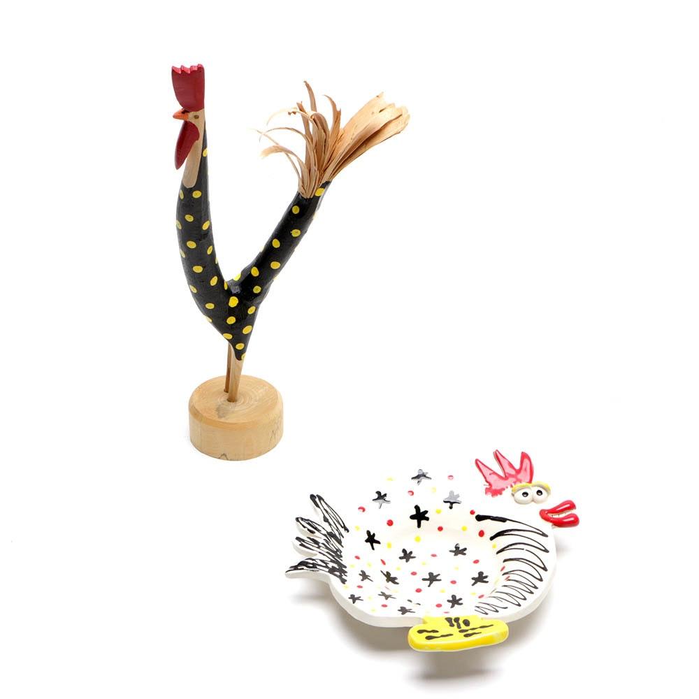 Lonnie & Twyla Money Folk Art Chicken Sculpture with Ceramic Tray