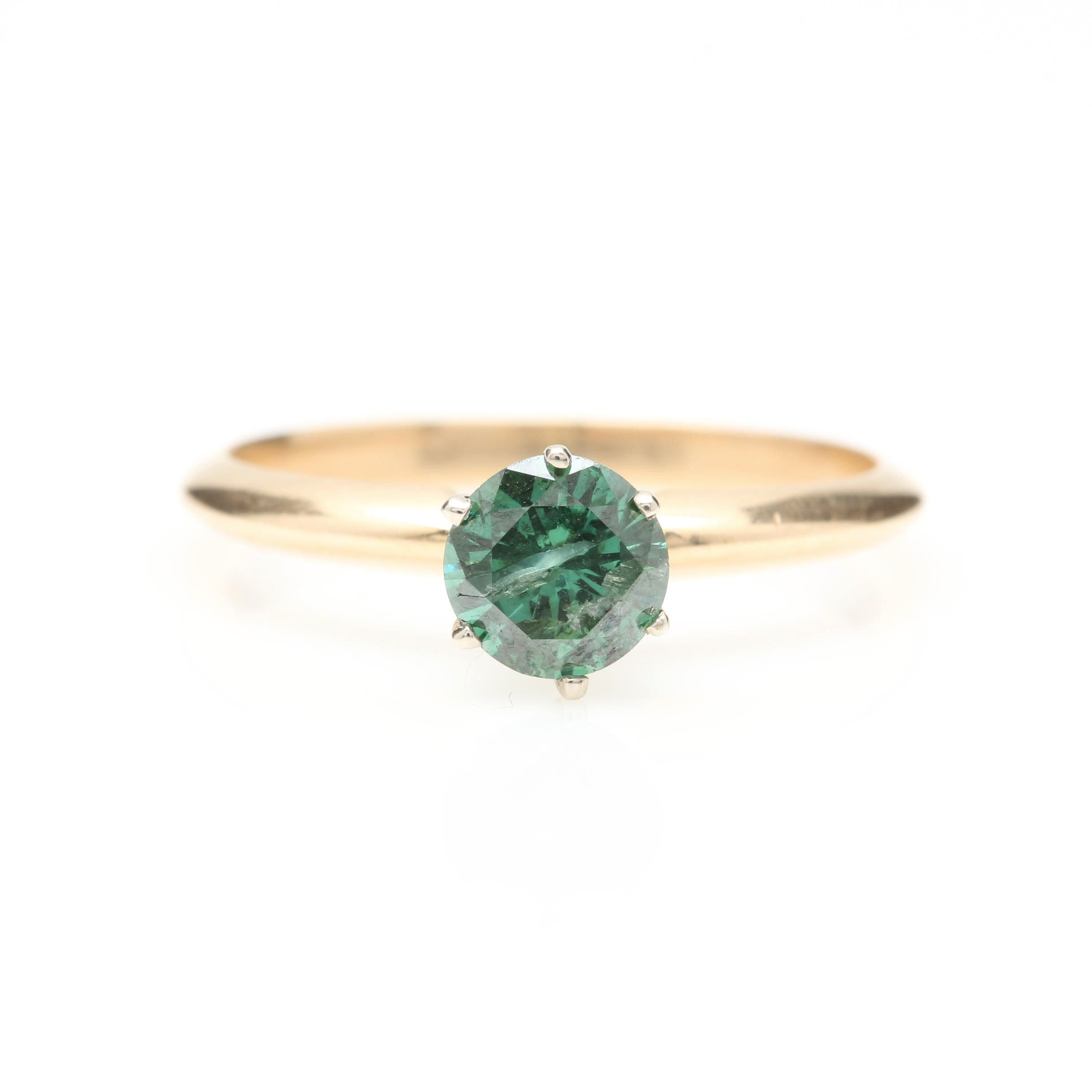 14K Yellow Gold Green Diamond Solitaire Ring