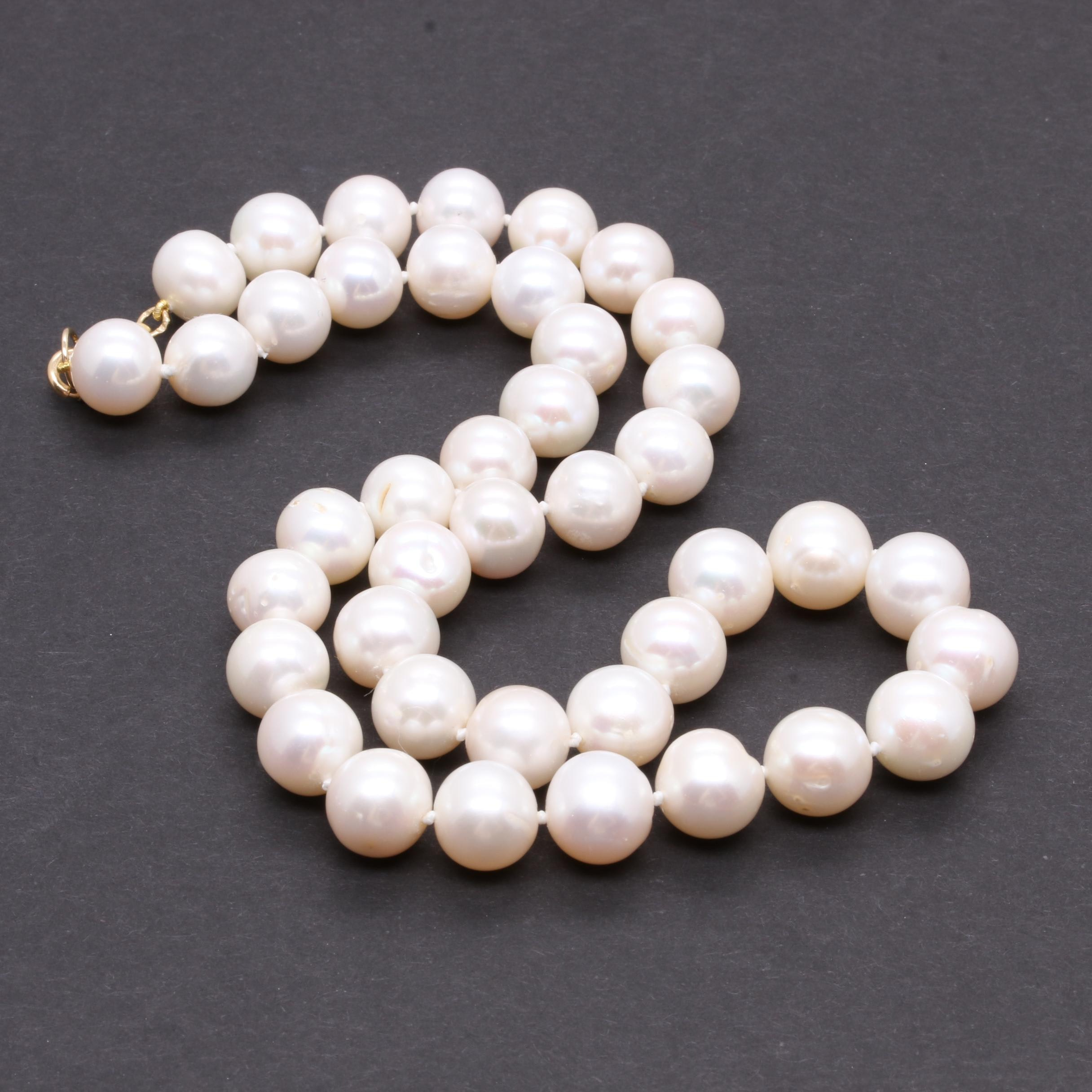 14K Yellow Gold Cultured Pearl Necklace with 10K Gold Accent