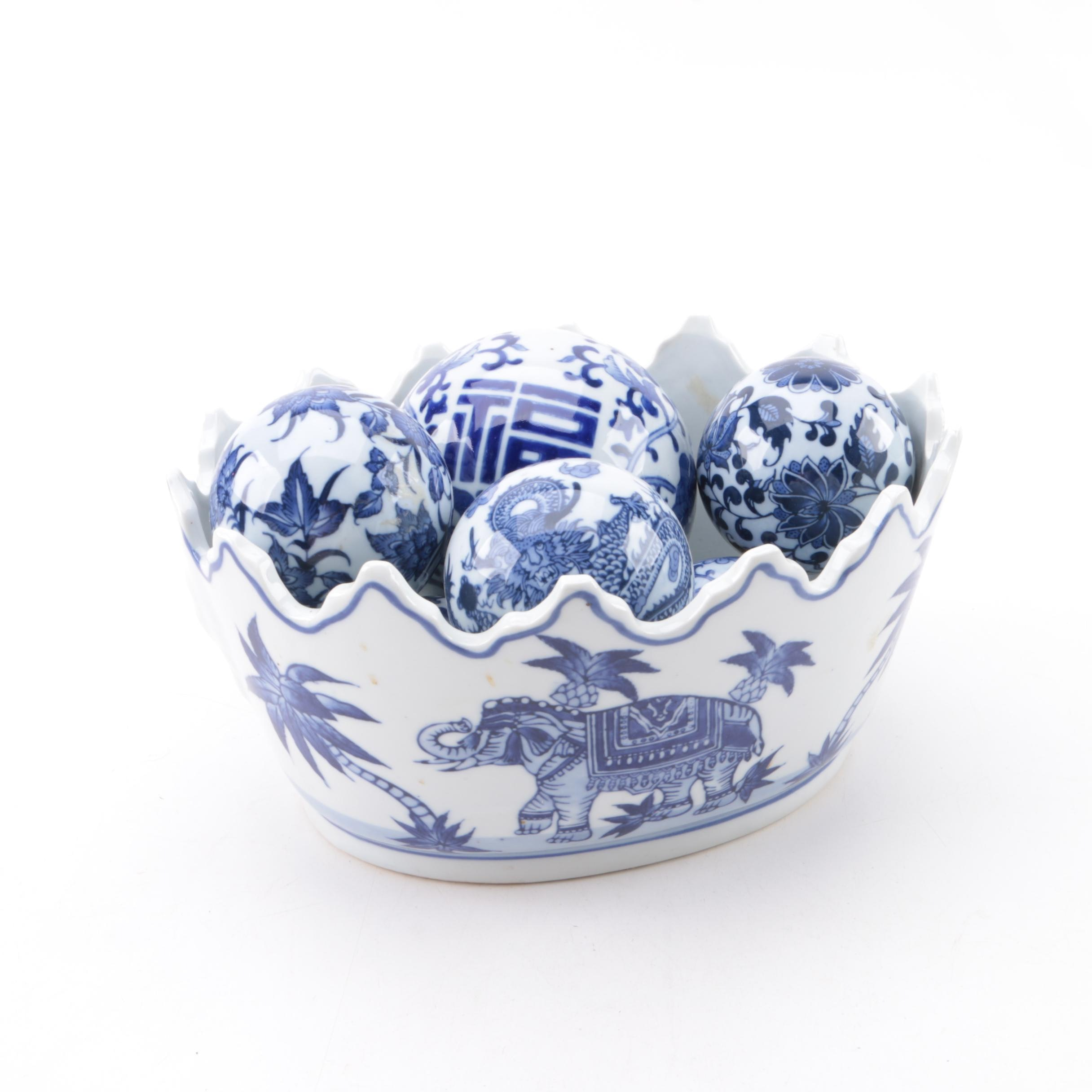 Chinese Porcelain Centerpiece Bowl with Carpet Balls