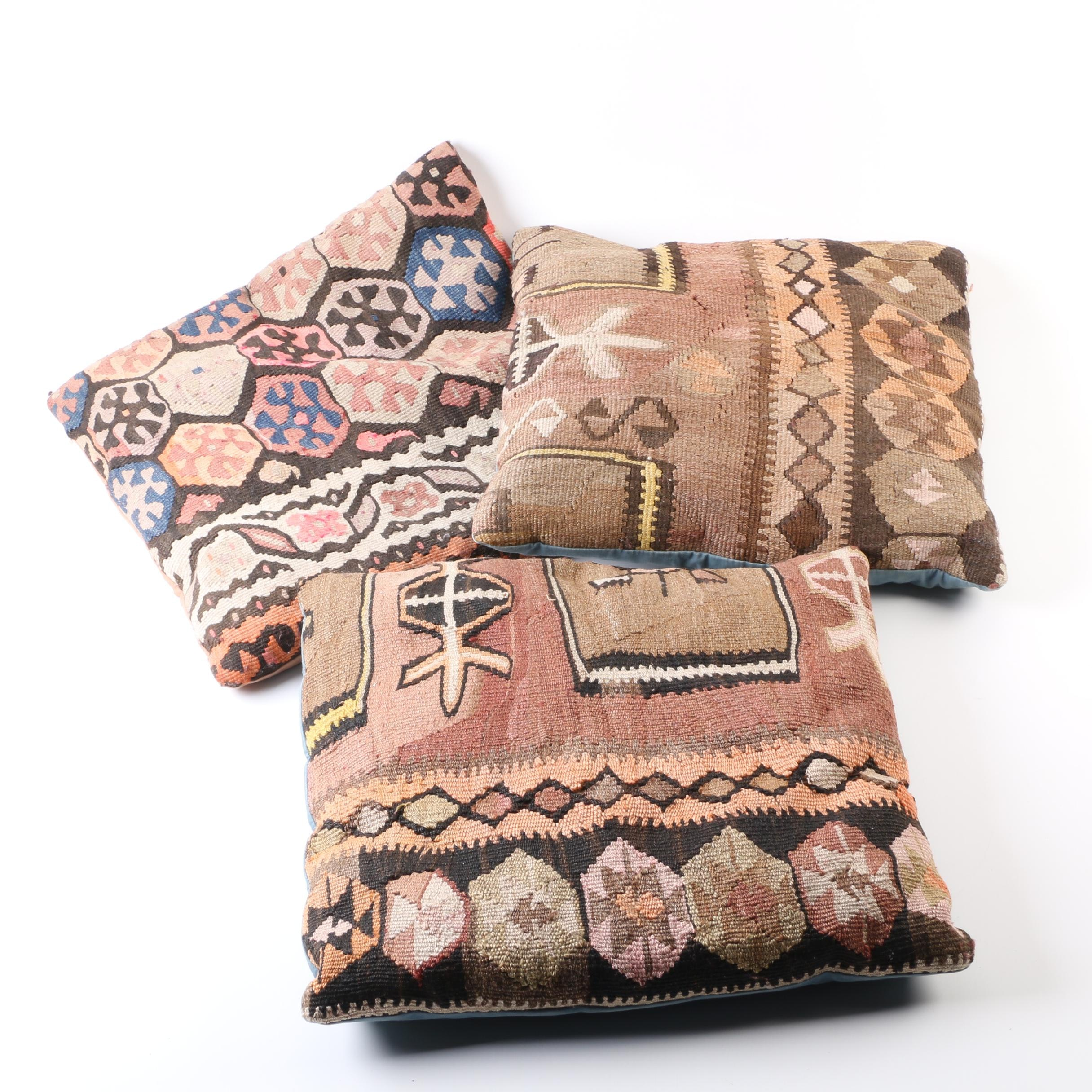 Handwoven Turkish Wool Kilim Remnant Accent Pillows