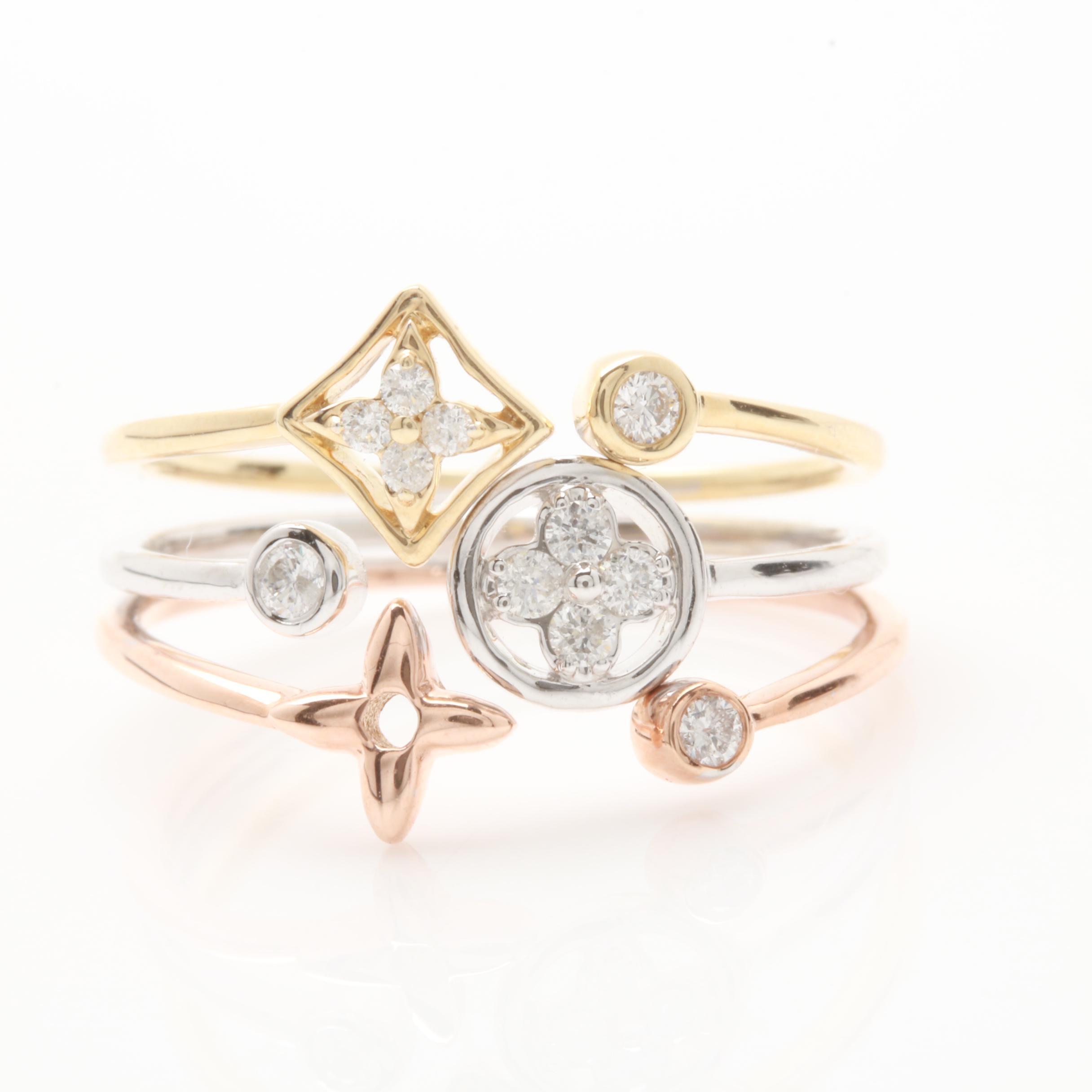 14K Mixed Gold Diamond Ring