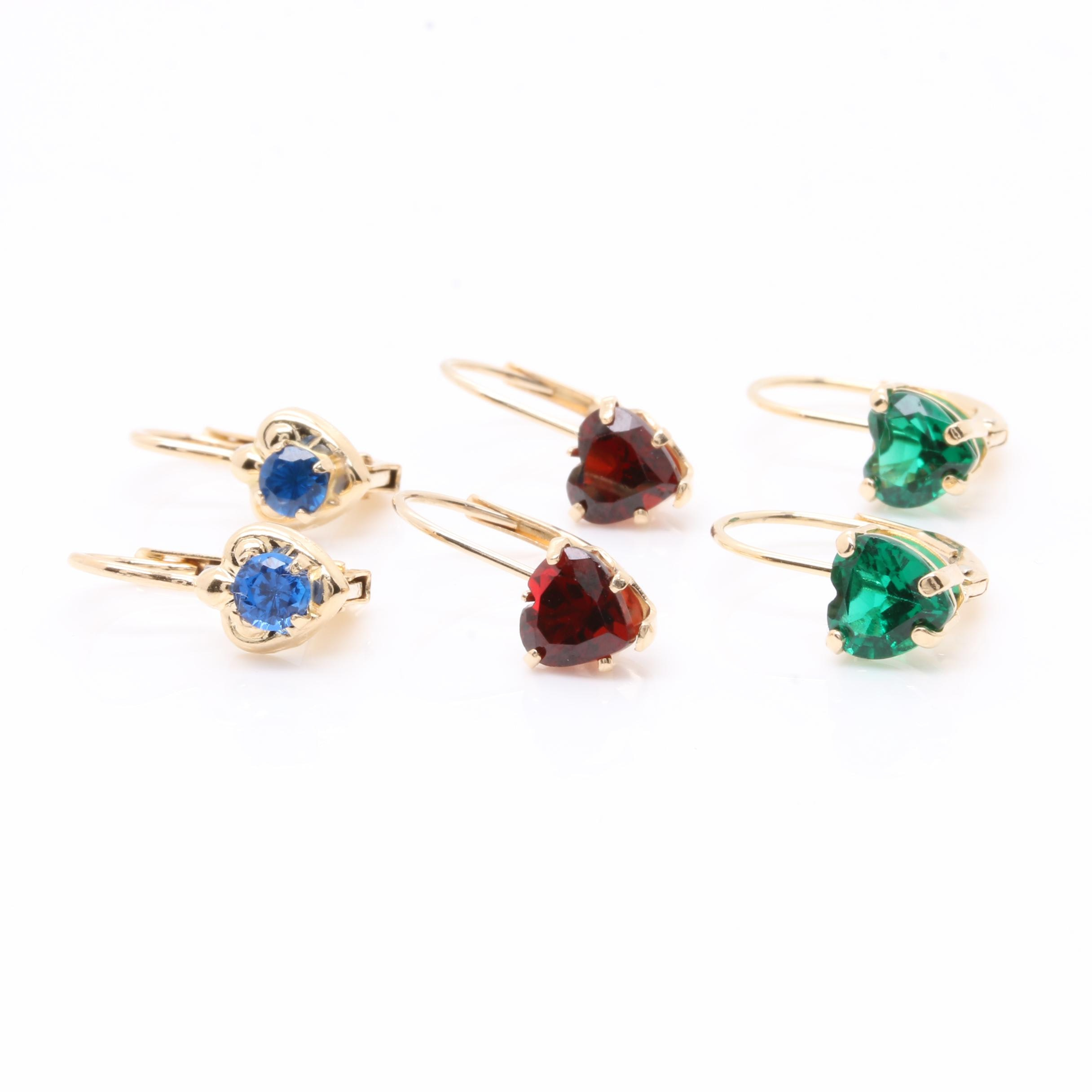 14K Yellow Gold Garnet, Synthetic Spinel and Synthetic Emerald Earrings