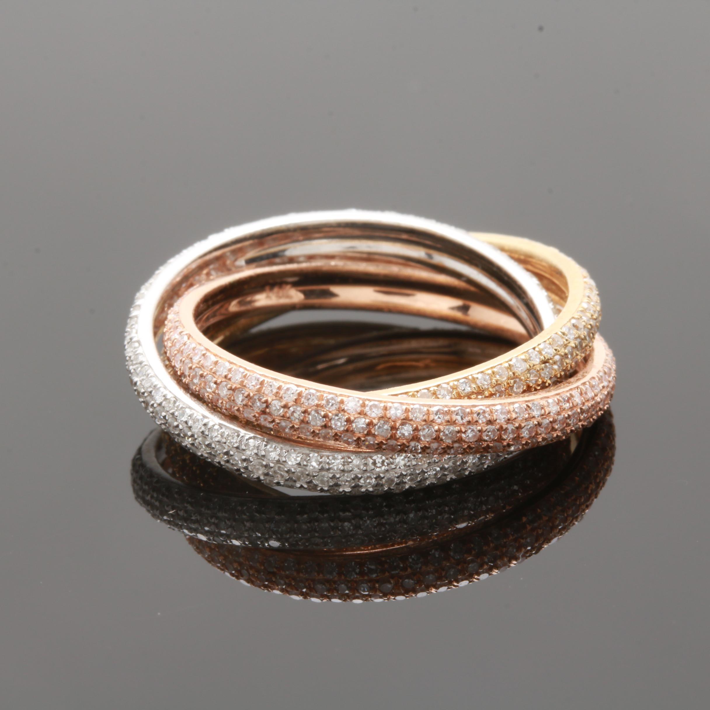 14K Mixed Gold 1.00 CTW Diamond Rolling Ring