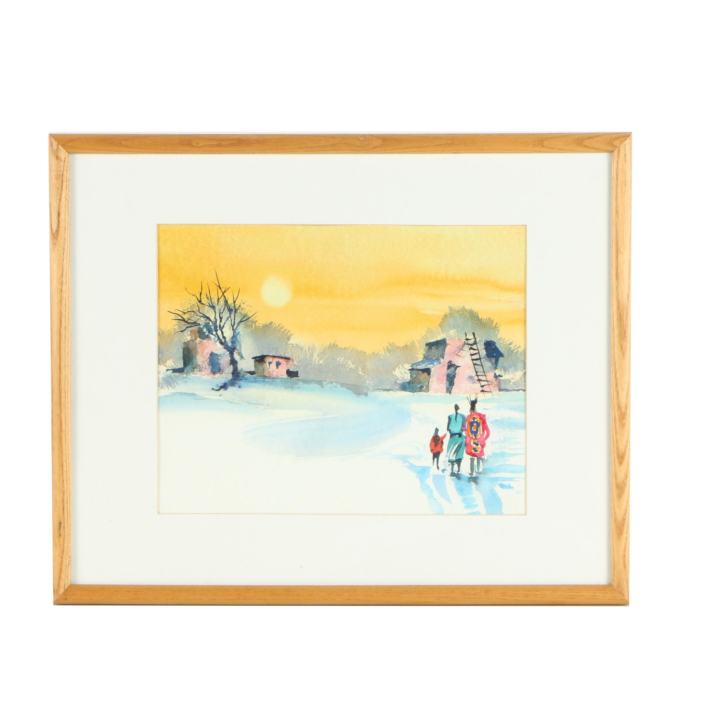 Watercolor Painting of Figures in Southwestern Landscape