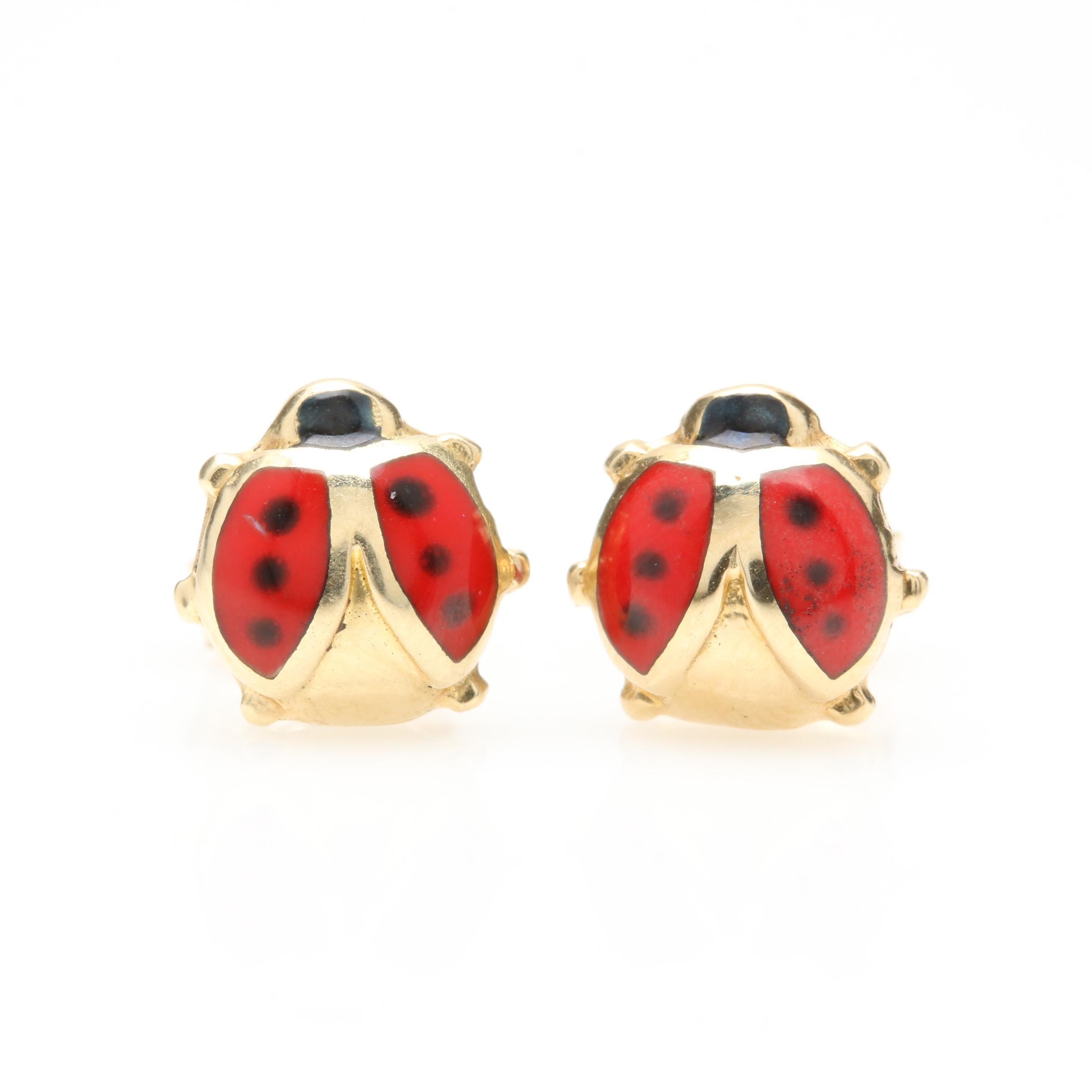 14K Yellow Gold Ladybug Stud Earrings With Enamel Accents