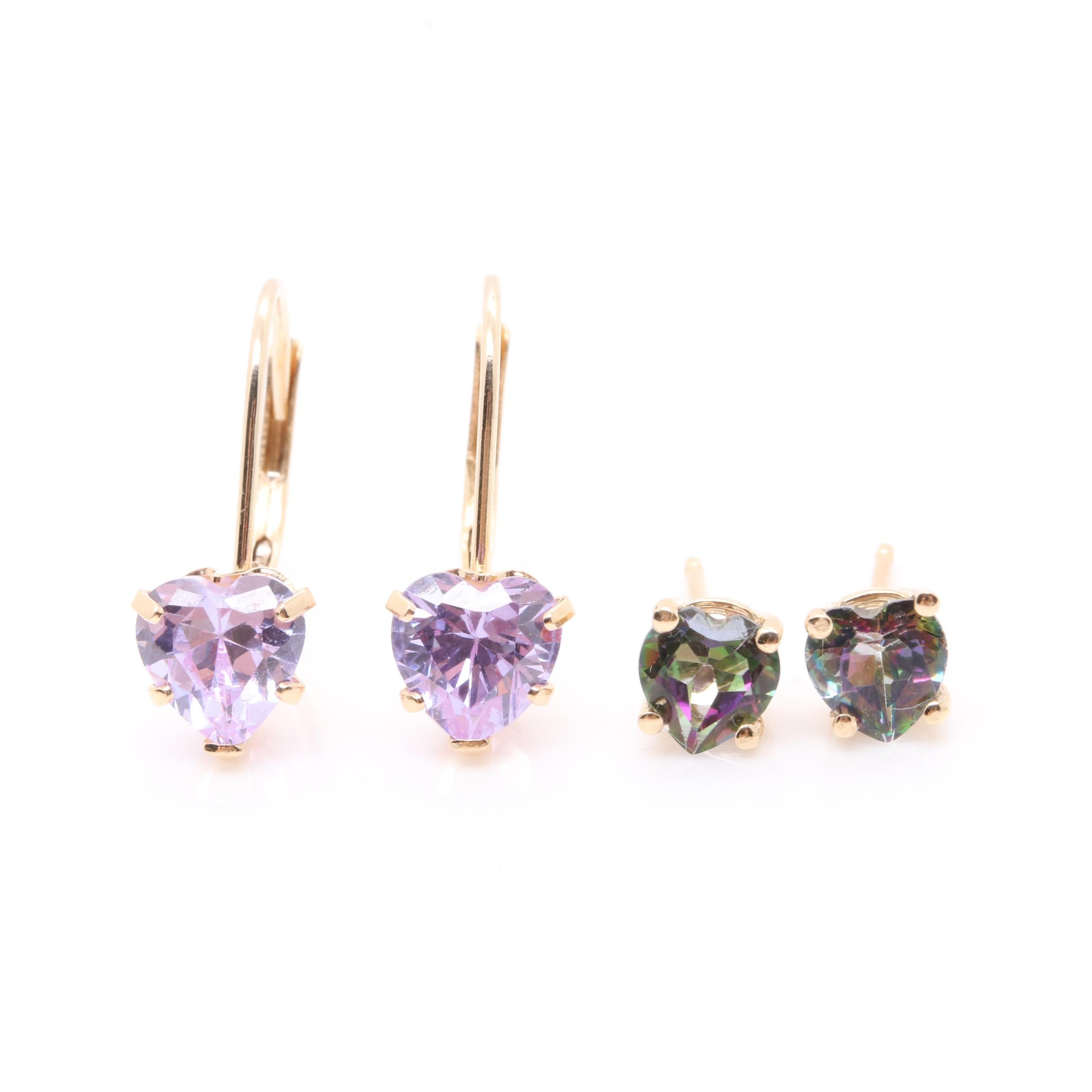 14K Yellow Gold Cubic Zirconia and Topaz Earrings
