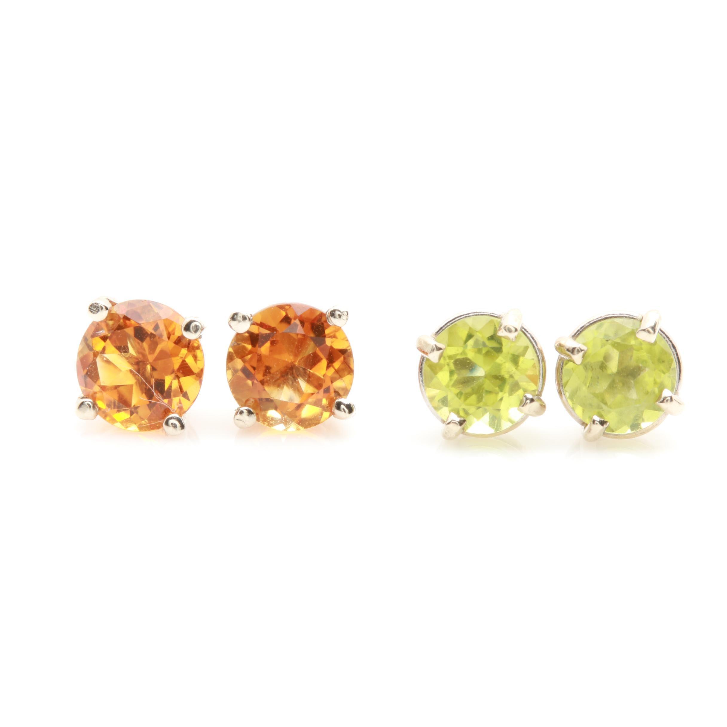 14K Yellow Gold Citrine and Peridot Earrings