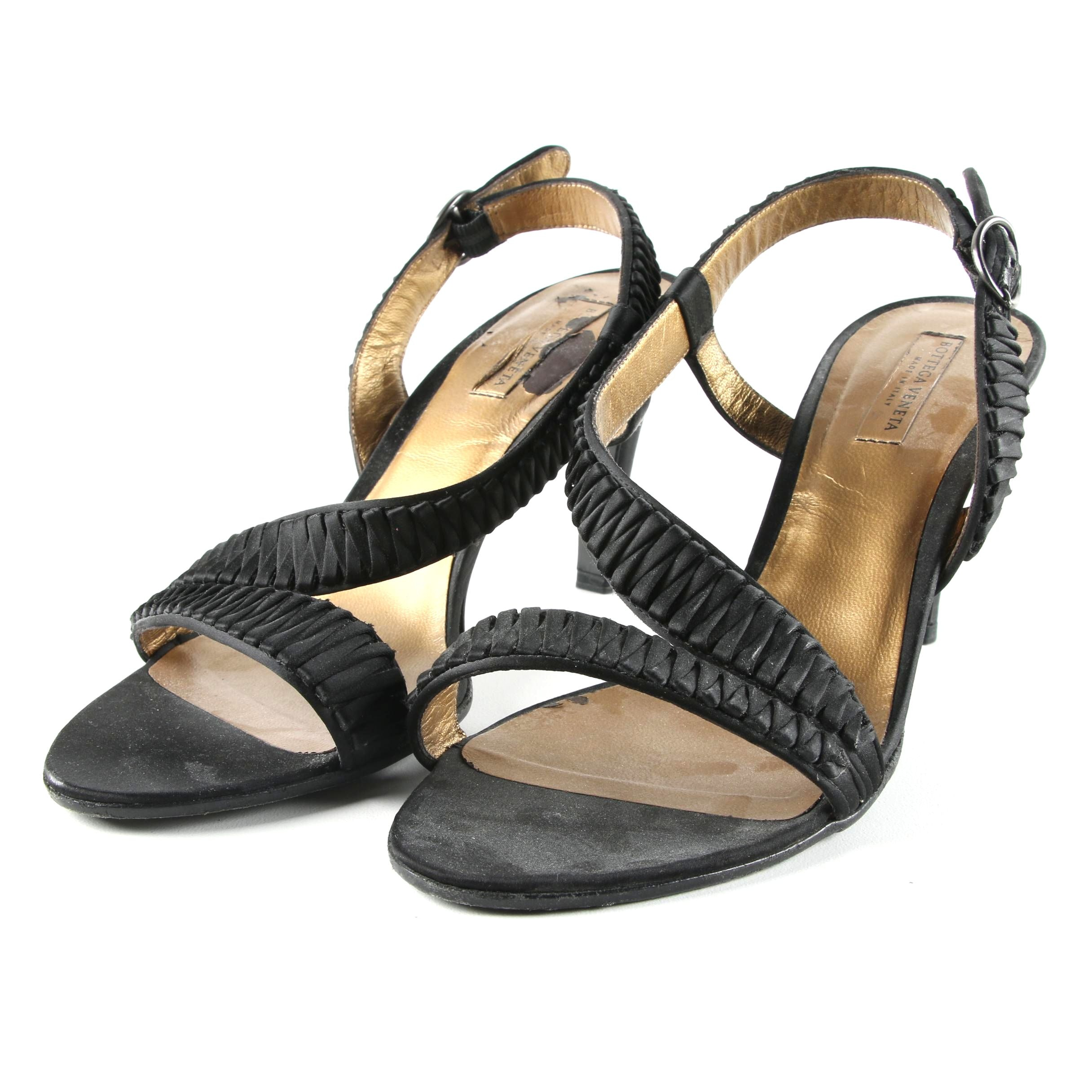 Bottega Veneta Black Fabric High-Heeled Dress Sandals, Made in Italy