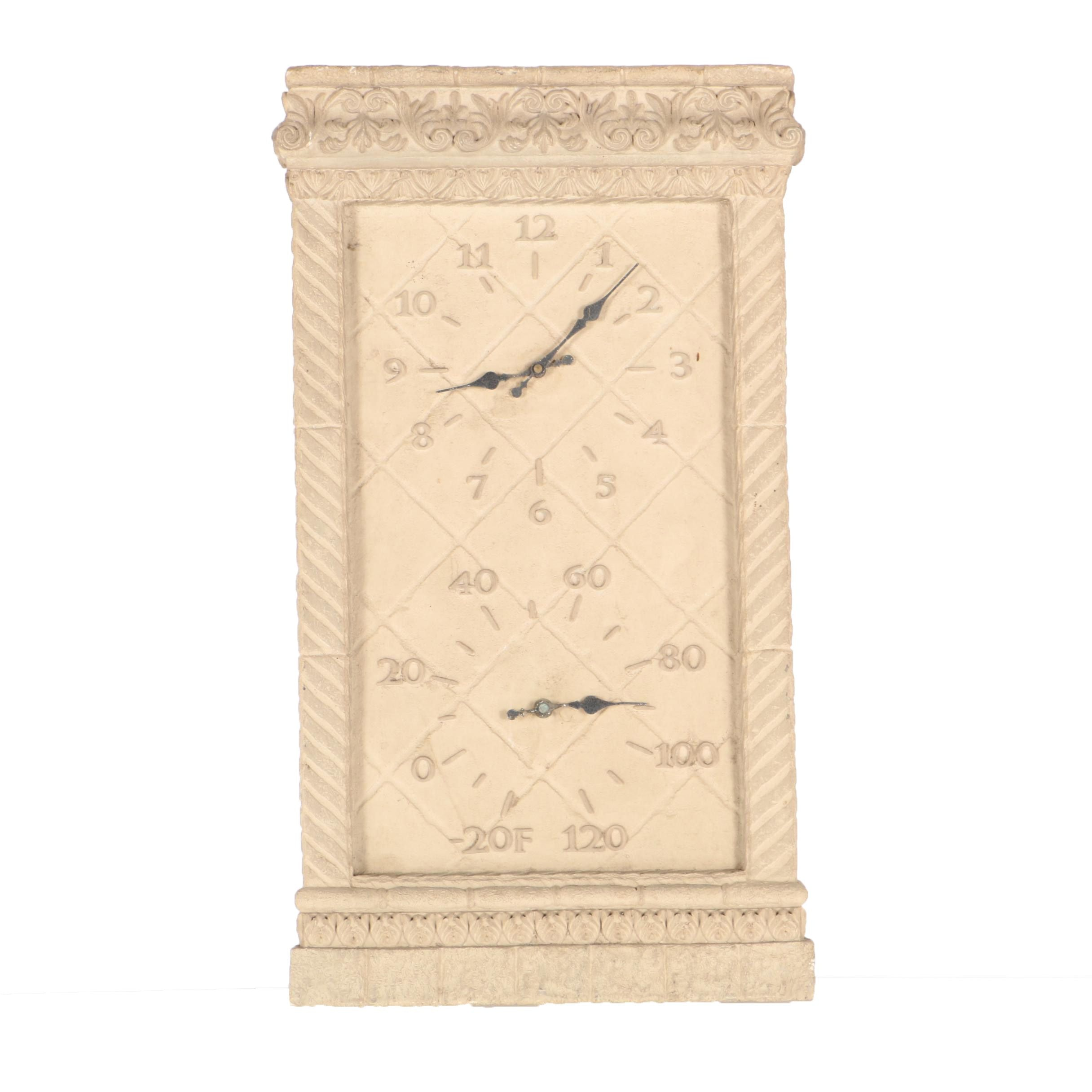 Hanging Stone Outdoor Wall Clock and Thermometer