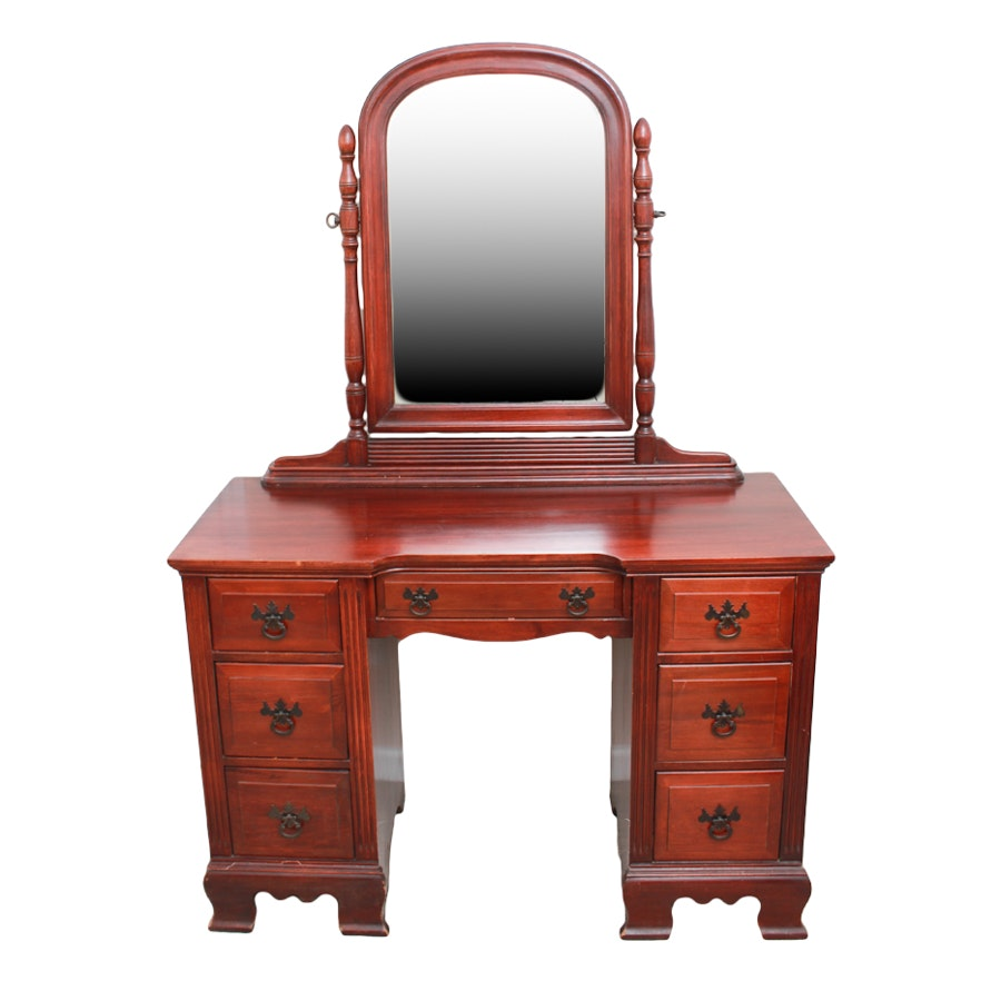 Federal Style Cherry-Stained Poplar Vanity Desk with Tilting Mirror