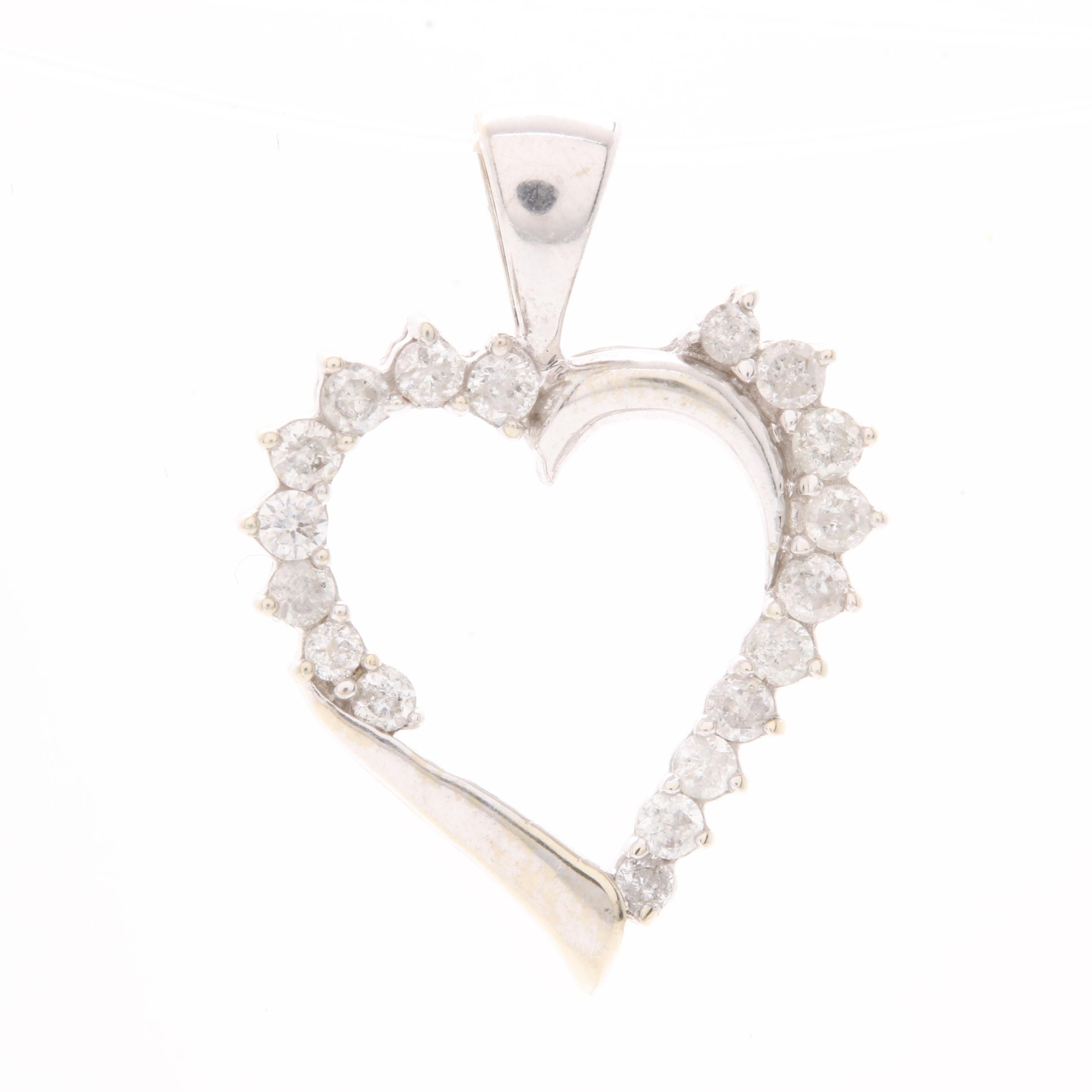 10K White Gold Diamond Heart Pendant