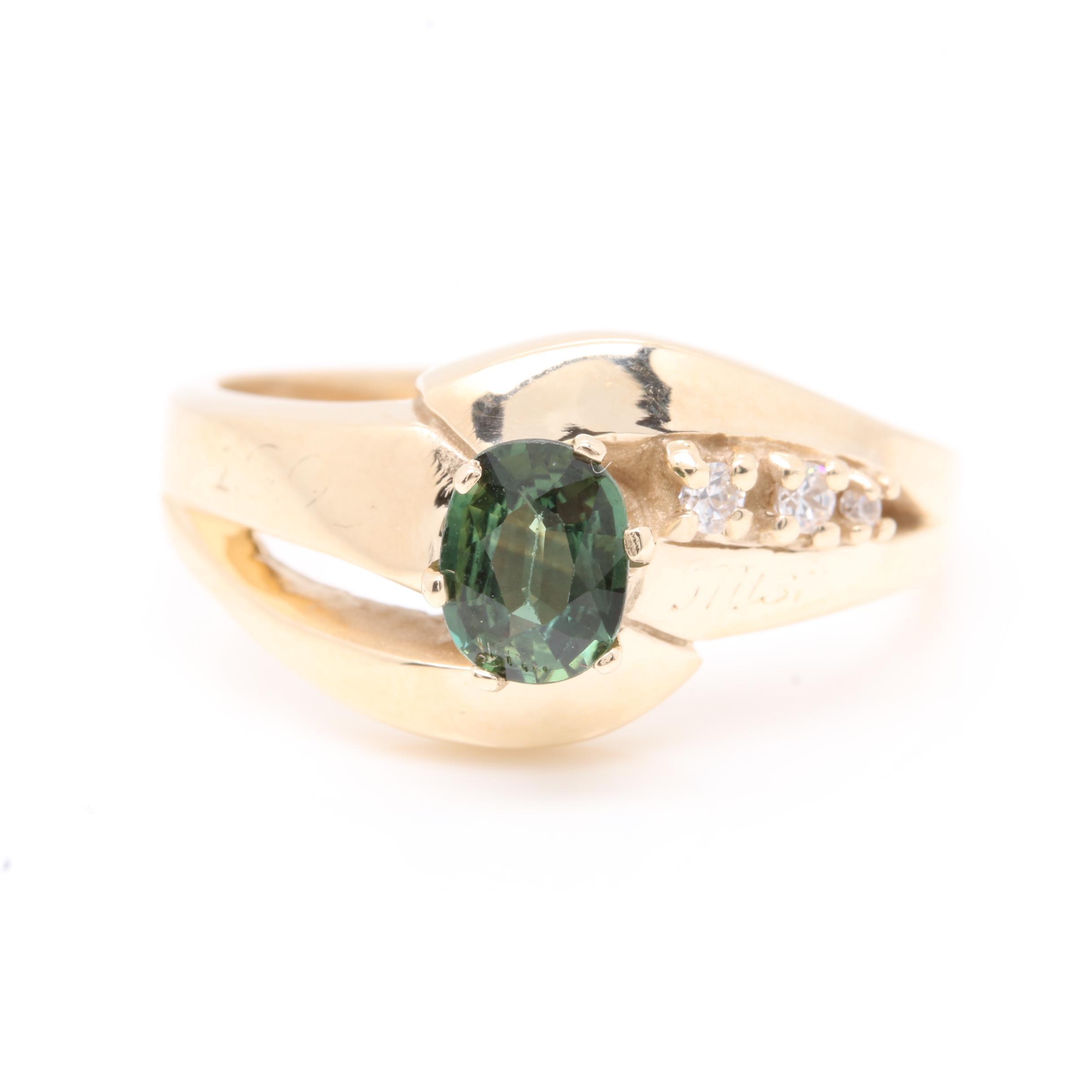 10K Yellow Gold Green Sapphire and Diamond Ring