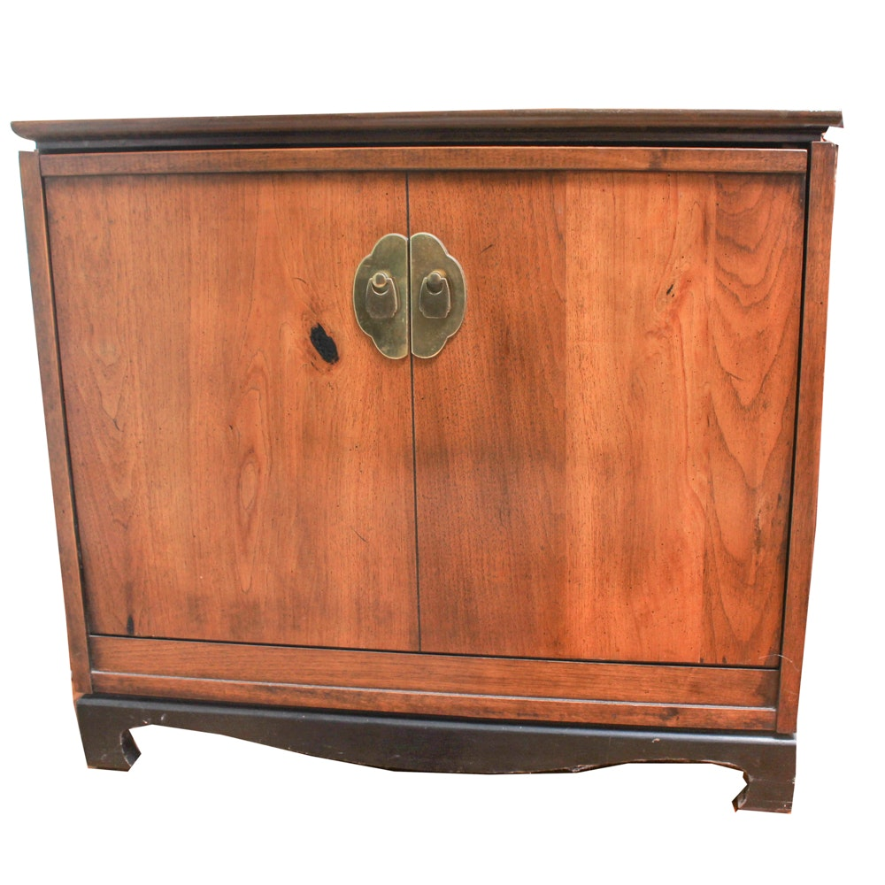 Vintage Chinese Inspired Hardwood Record Cabinet