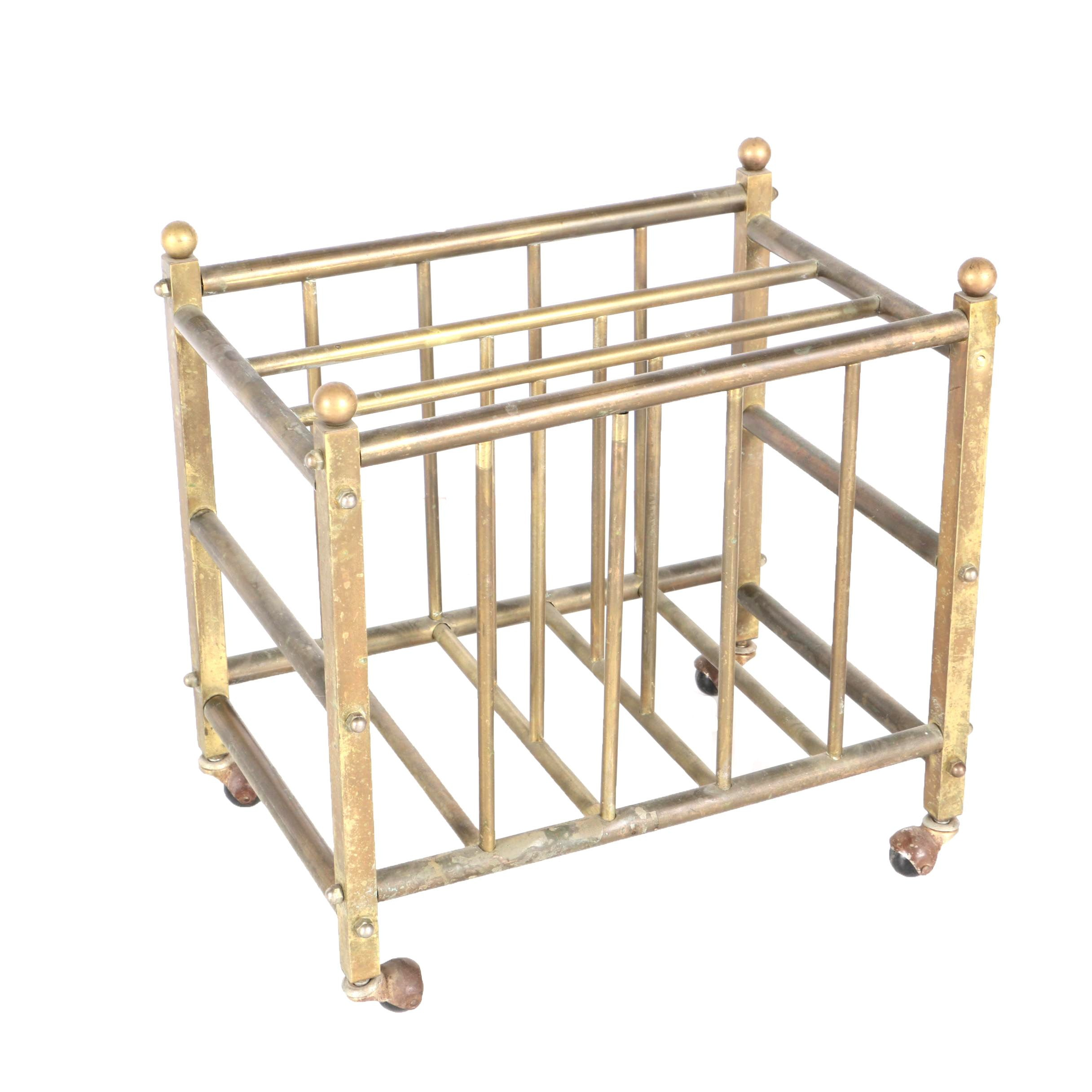 Brass Rod Magazine Rack on Casters