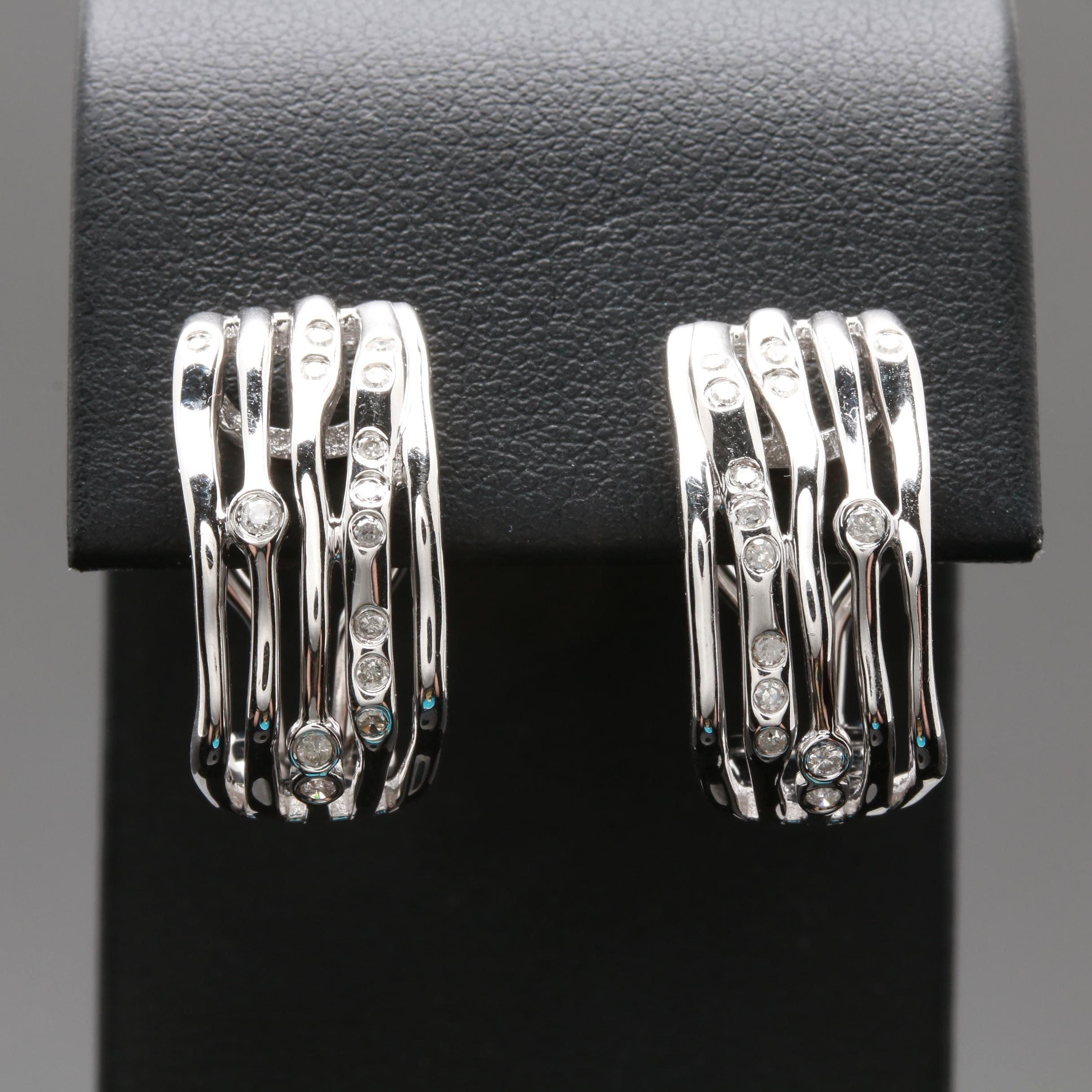14K White Gold Diamond Half Hoop Earrings