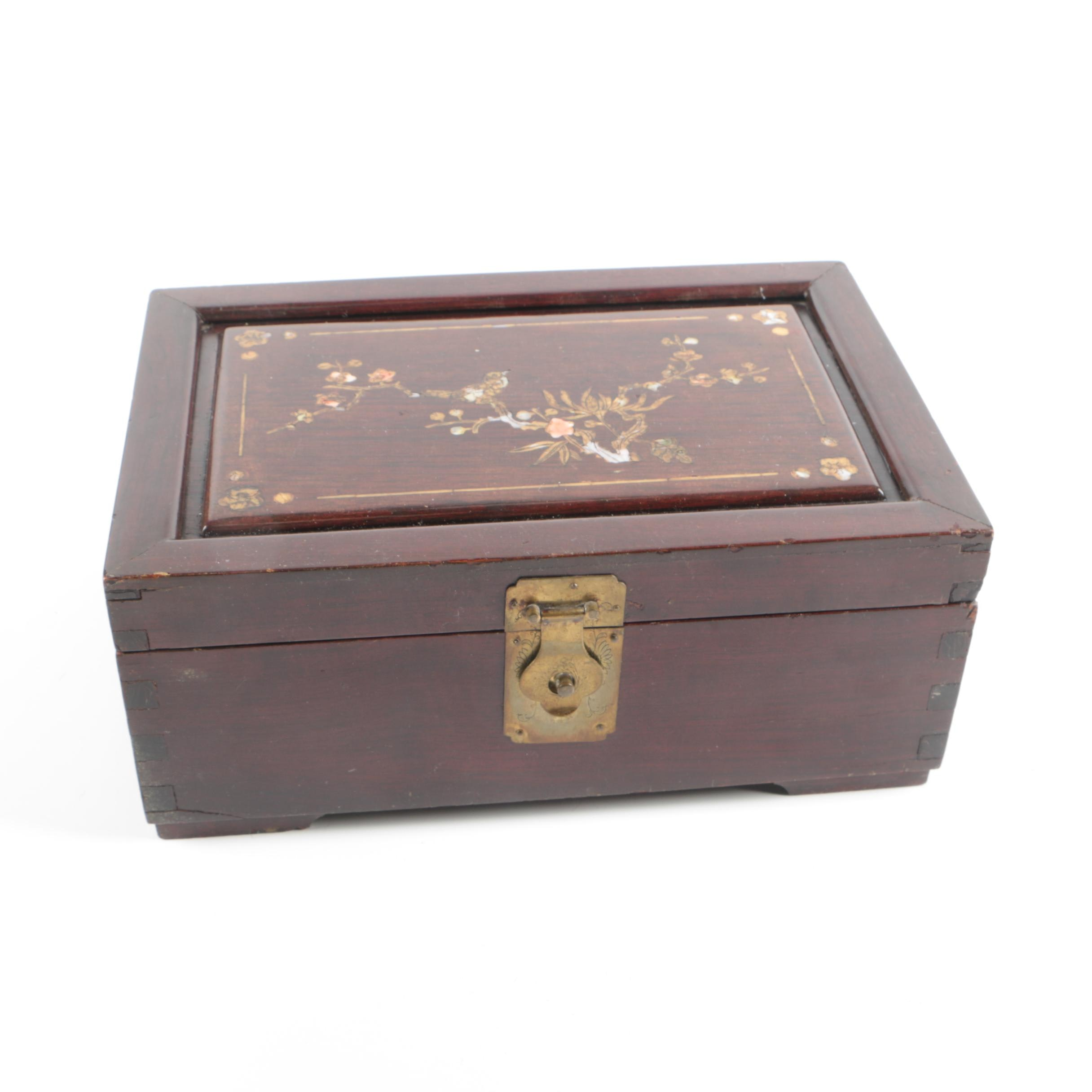 Vintage Chinese Jewelry Box with Mother of Pearl and Coral Inlays