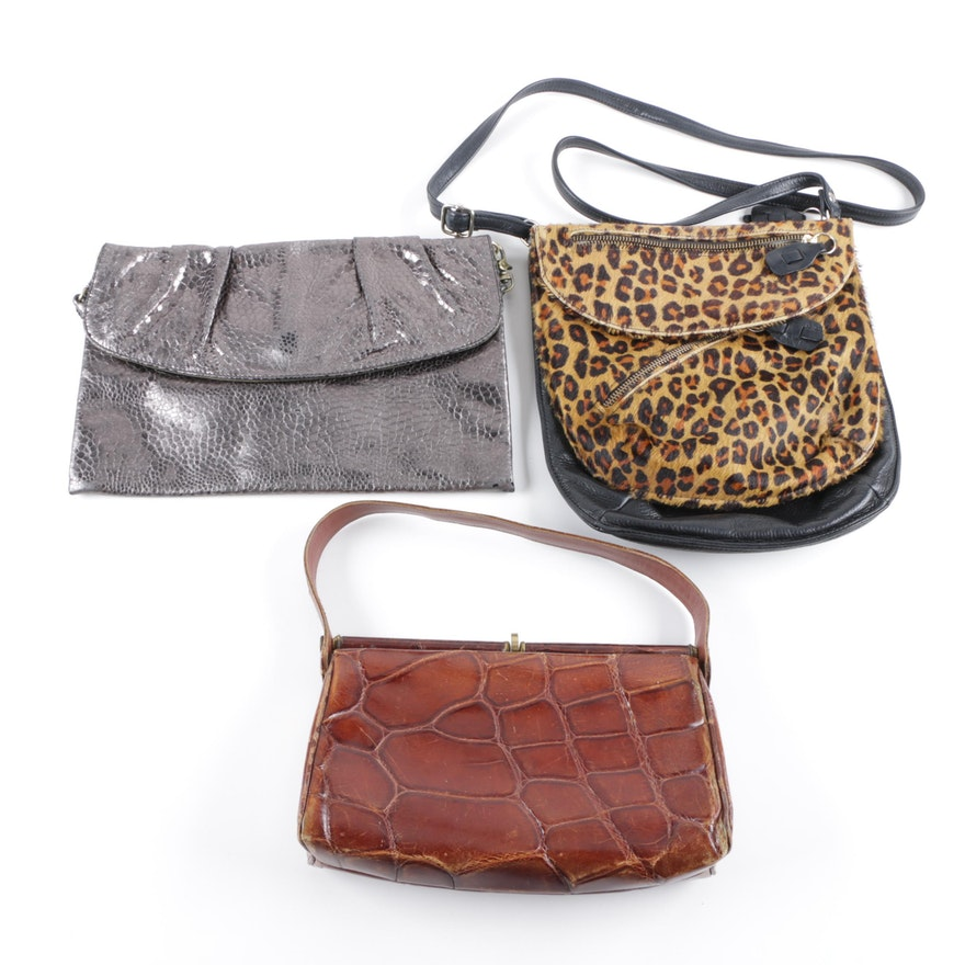 09cbc123f7b2 Crocodile, Calf Hair, and Embossed Leather Handbags Including Franchi  Collection ...