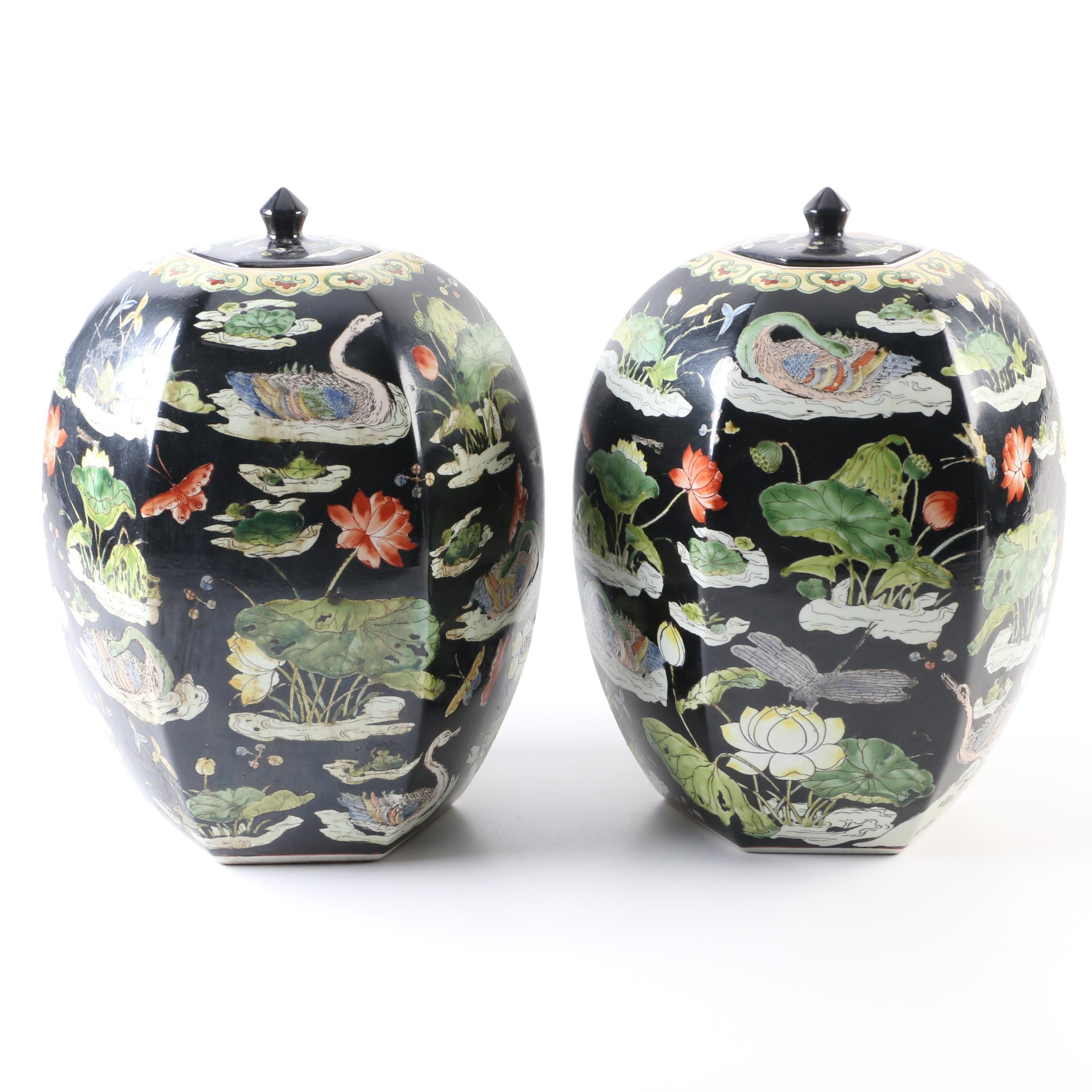Chinese Famille Noire Style Hand-Painted Ginger Jars