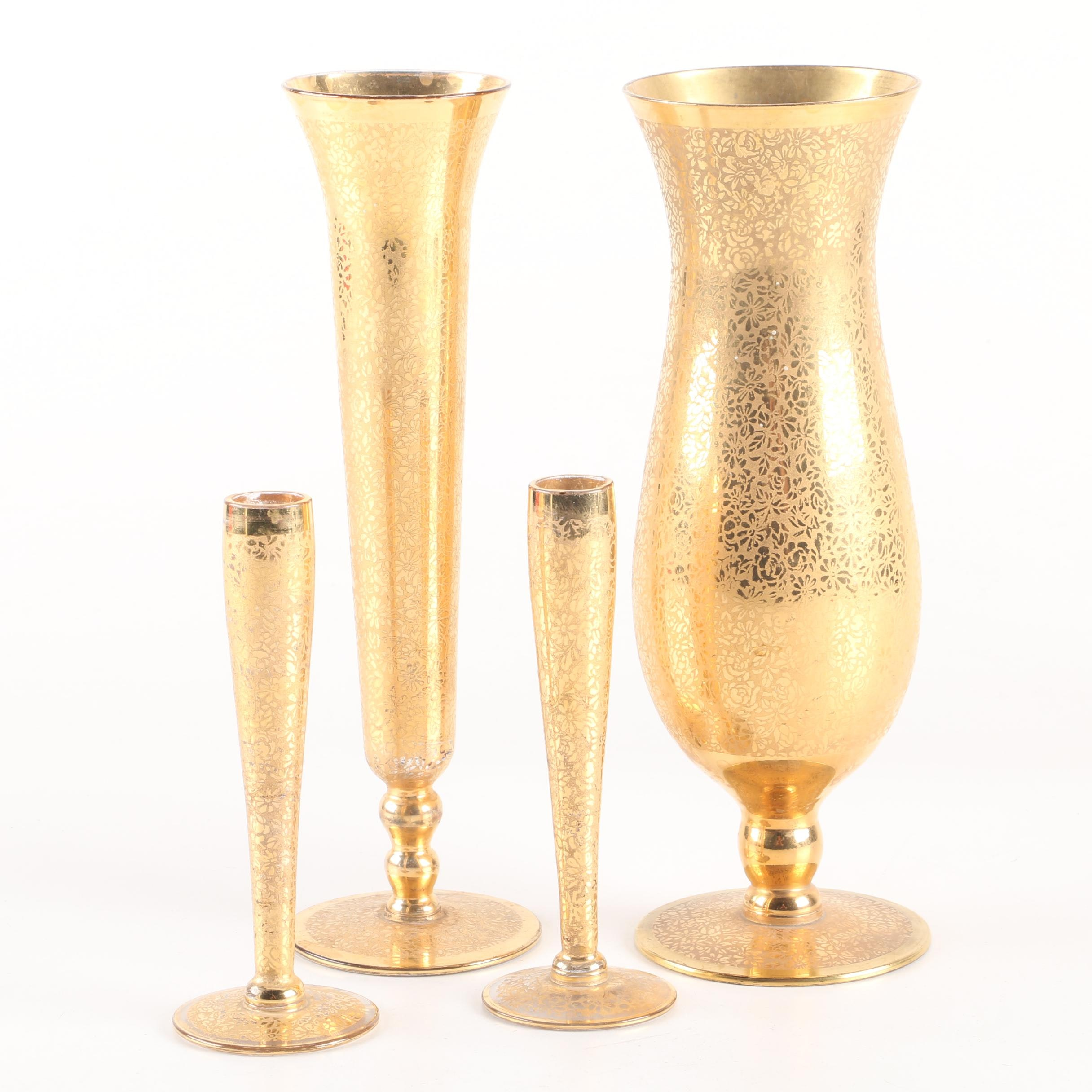 Vintage Gold Encrusted Crystal Candlestick Holders and Vases by RansGil