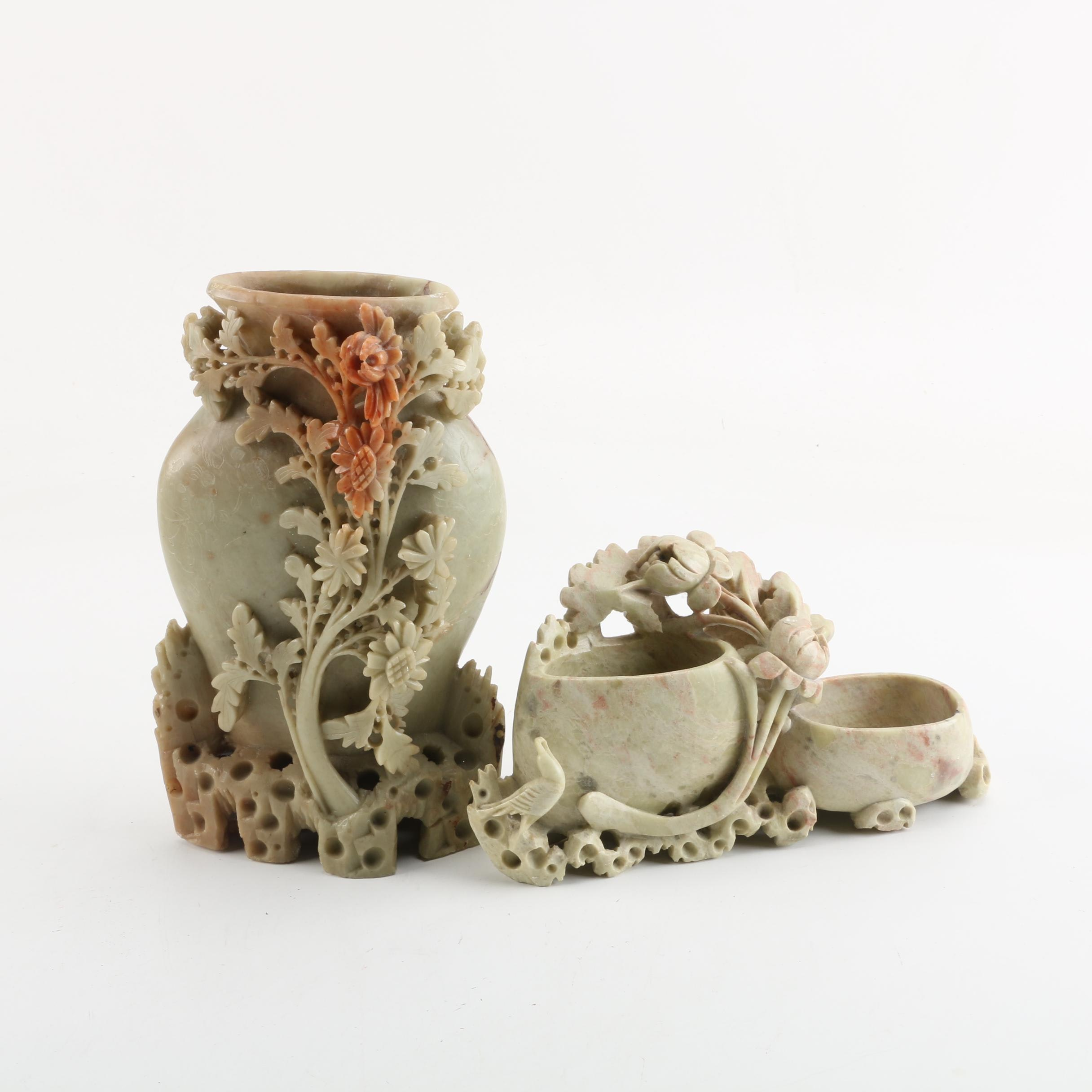 Chinese Floral Soapstone Vases