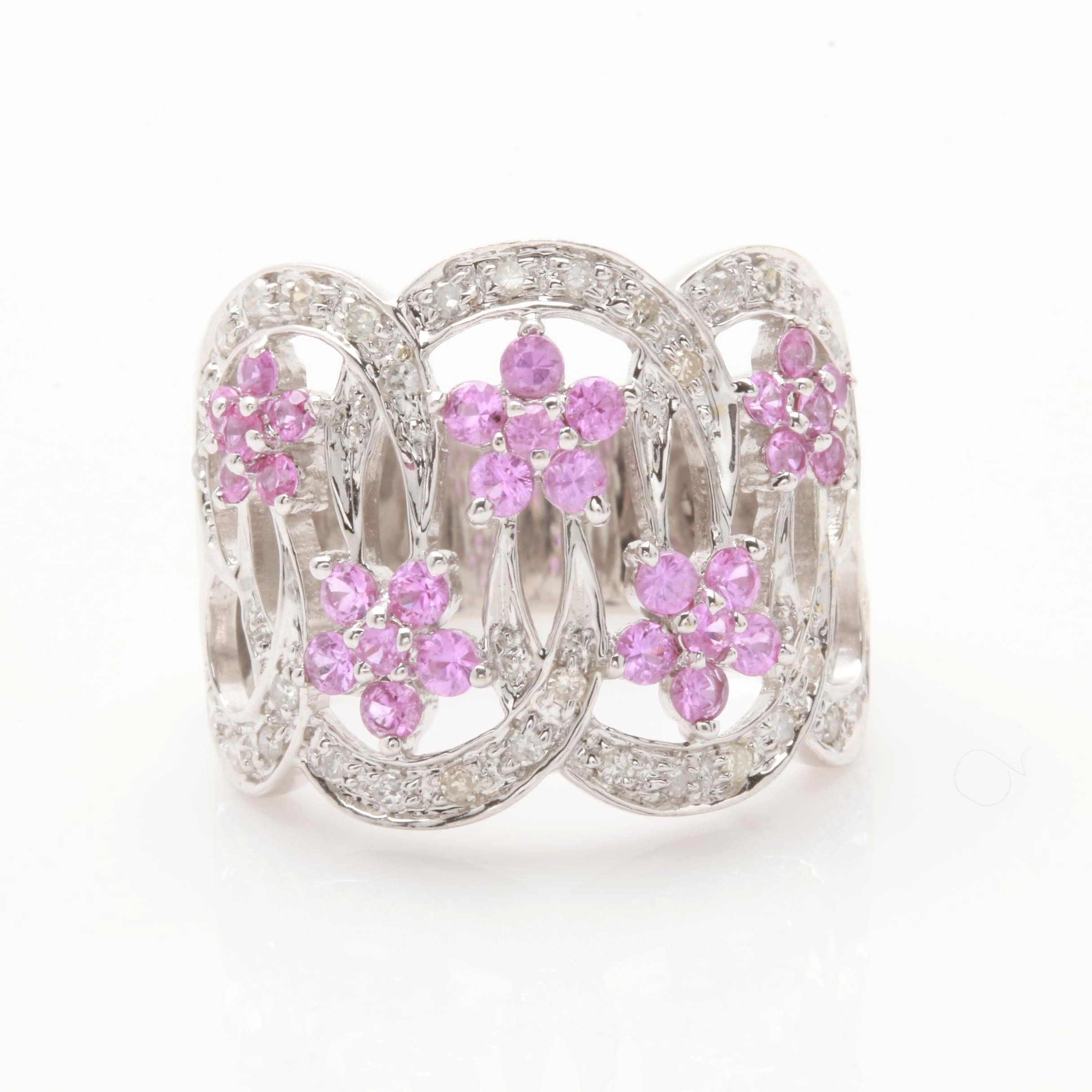 14K White Gold Pink Sapphire and Diamond Flower Ring