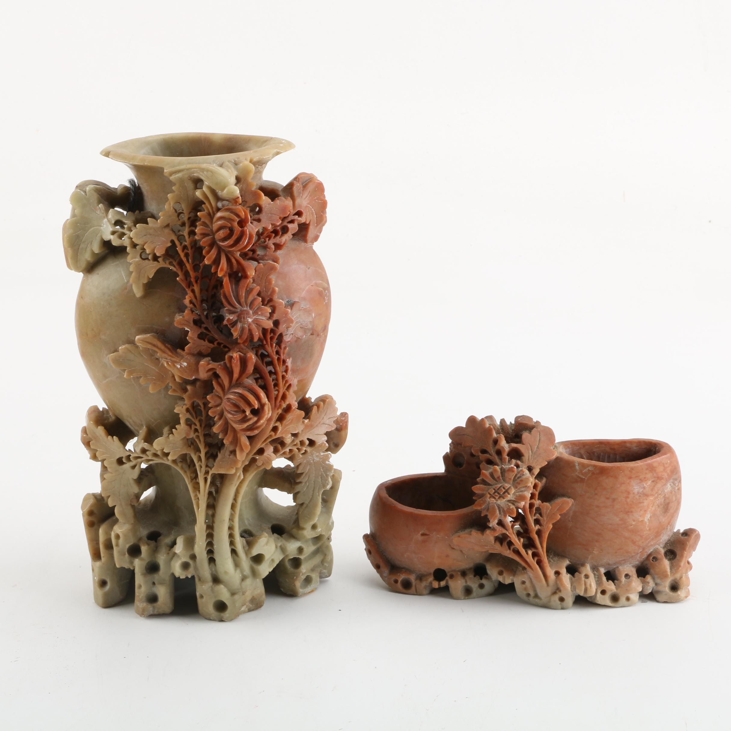 Chinese Soapstone Floral Vases