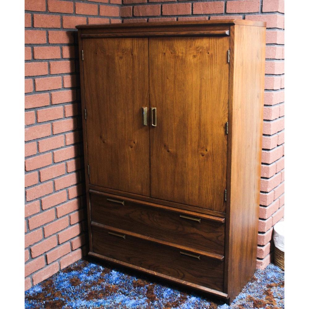 Vintage Oak Veneer Armoire