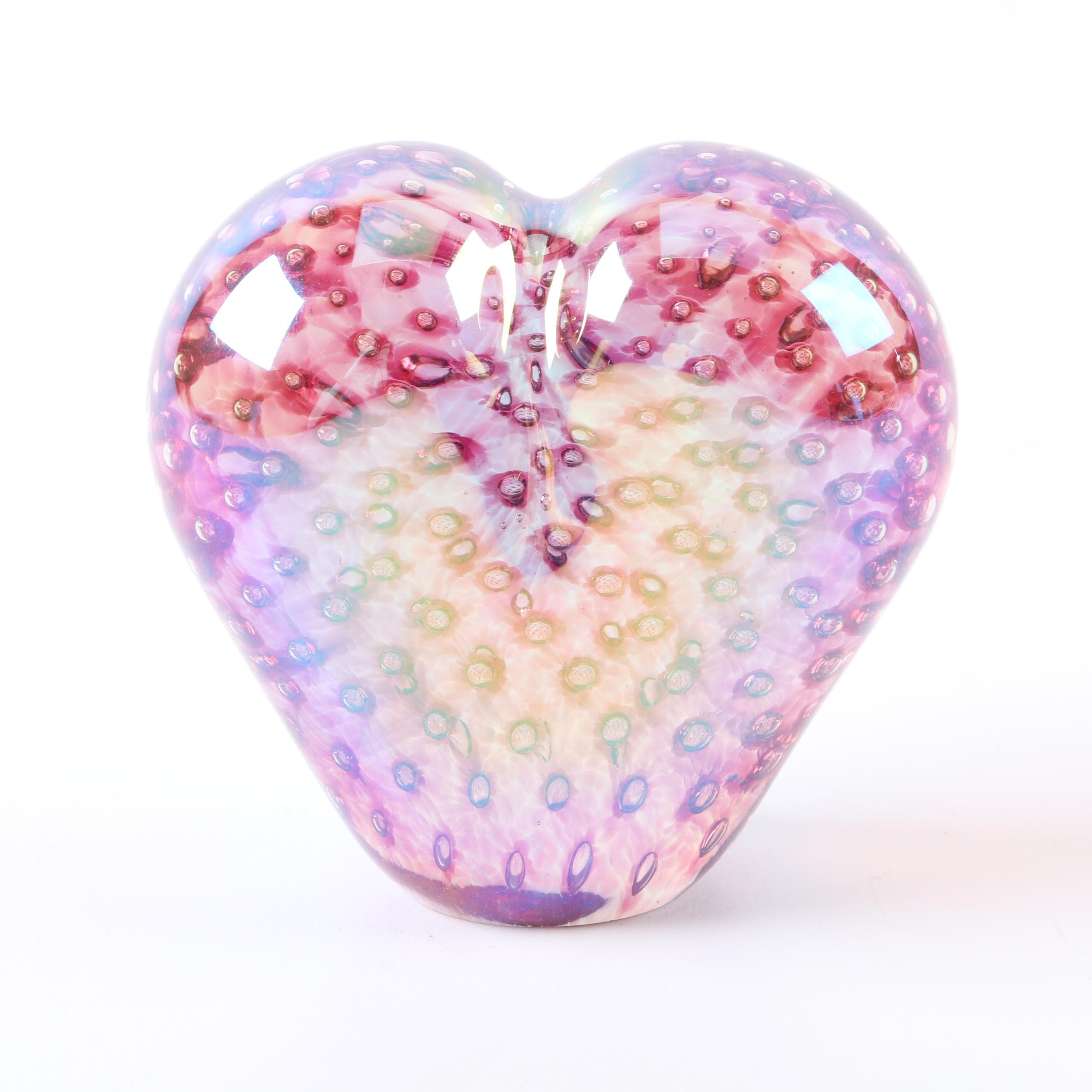 Vintage Glass Eye Studio Heart Paperweight