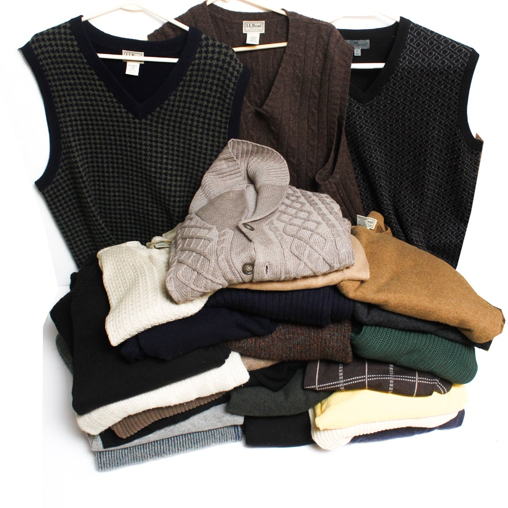 Group Of Twenty Five Mens Sweaters And Sweater Vests Including Ll