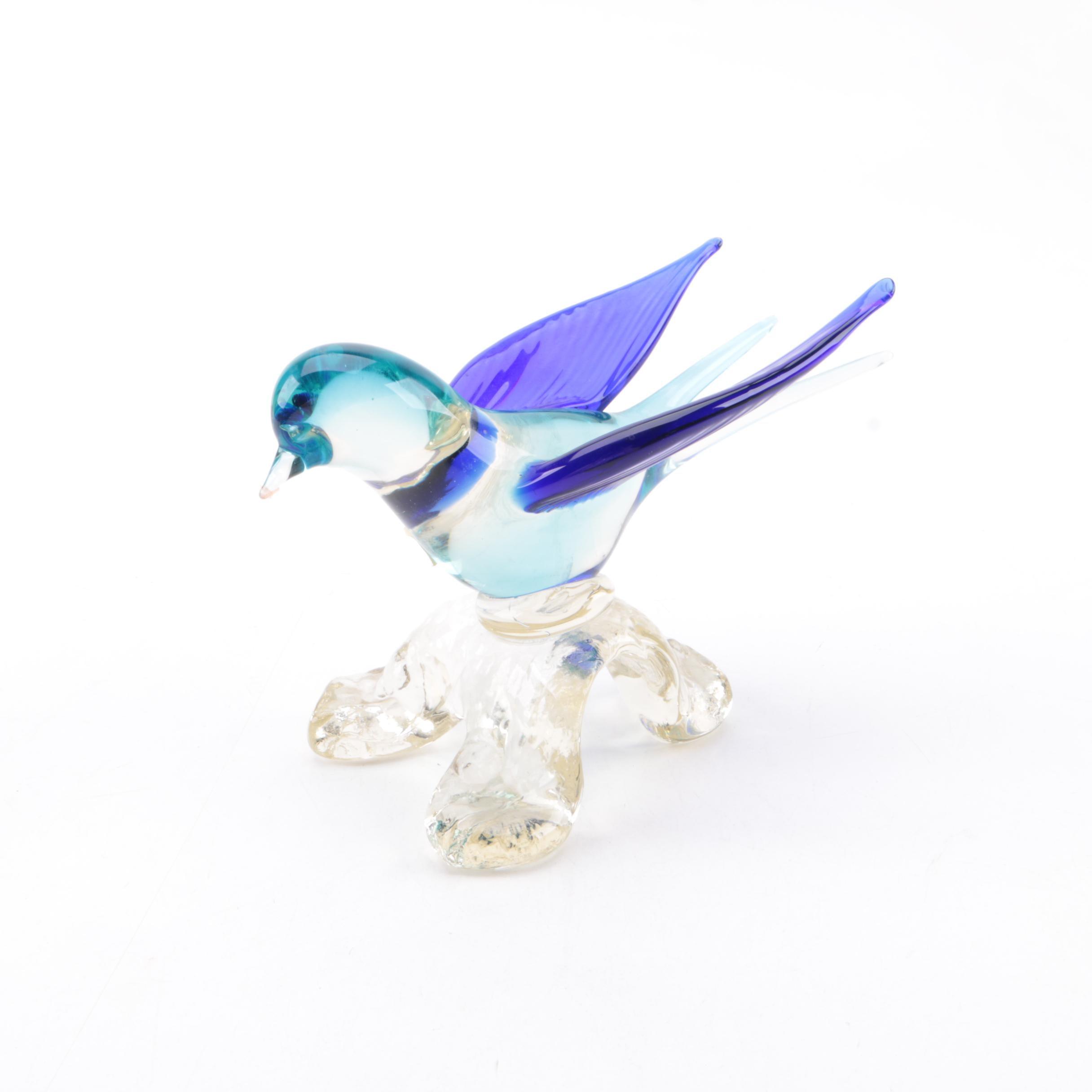 Murano Style Glass Bird Figurine