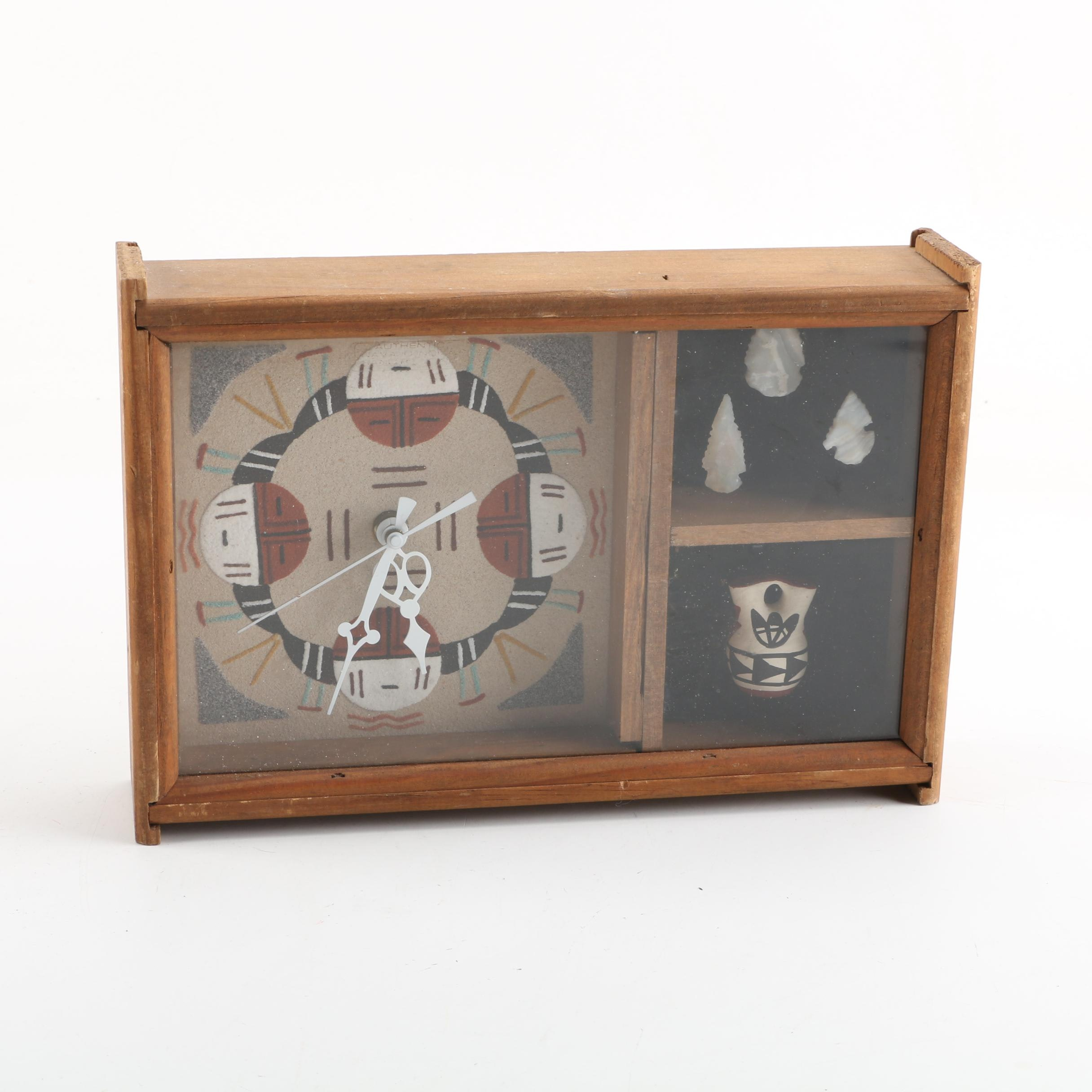 Navajo Style Sand Painting Clock with Replica Arrow Heads and Wedding Vase