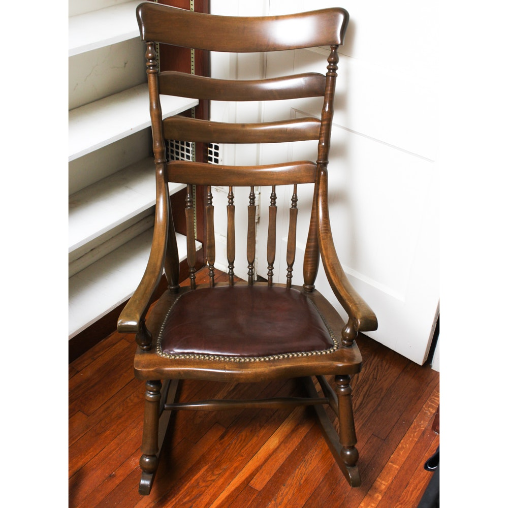 Vintage Rocking Chair with Faux Leather Seat