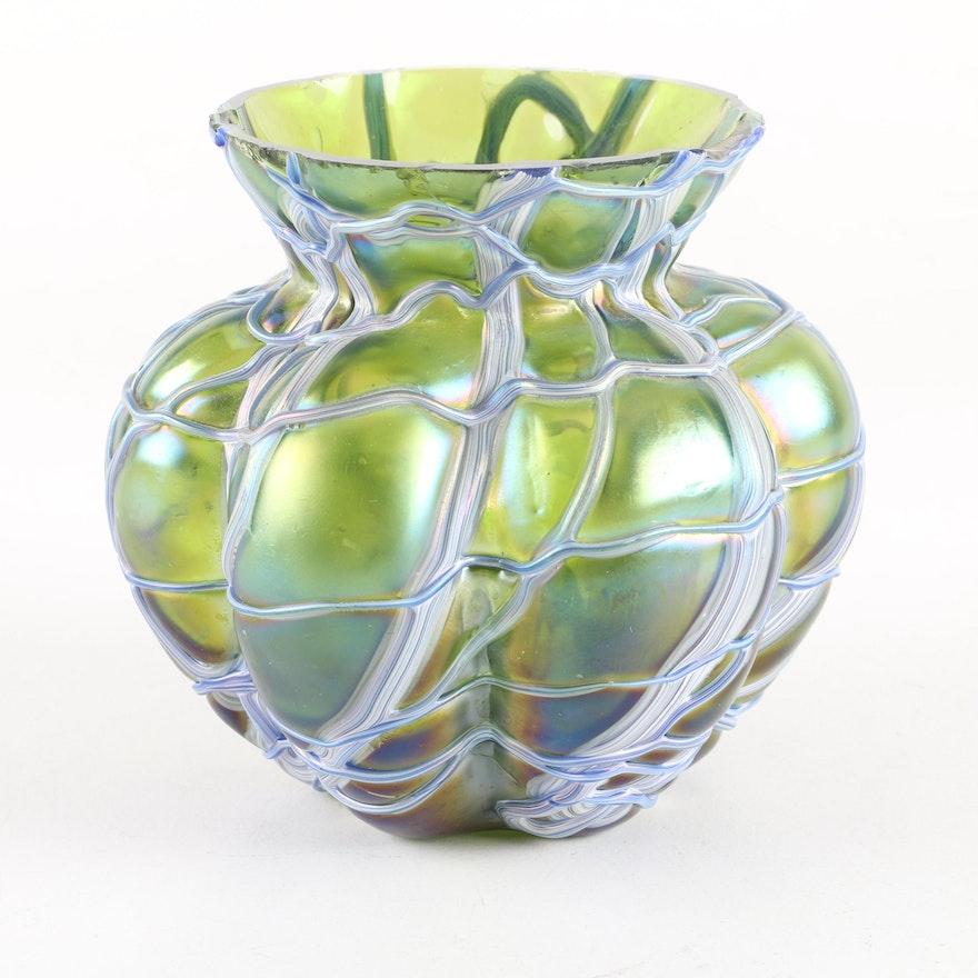 Kralik Veined Art Glass Vase Ebth