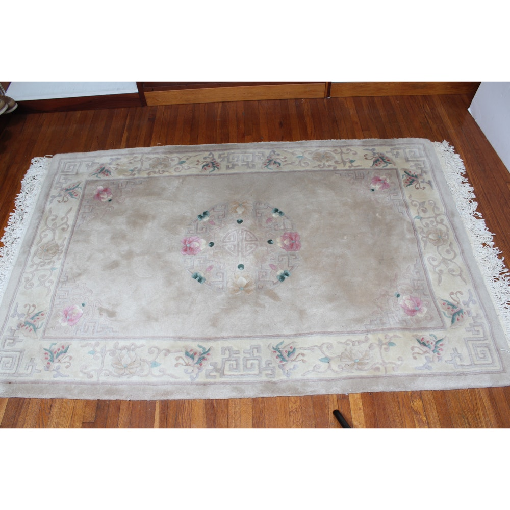 Vintage Hand-Knotted Chinese Area Rug