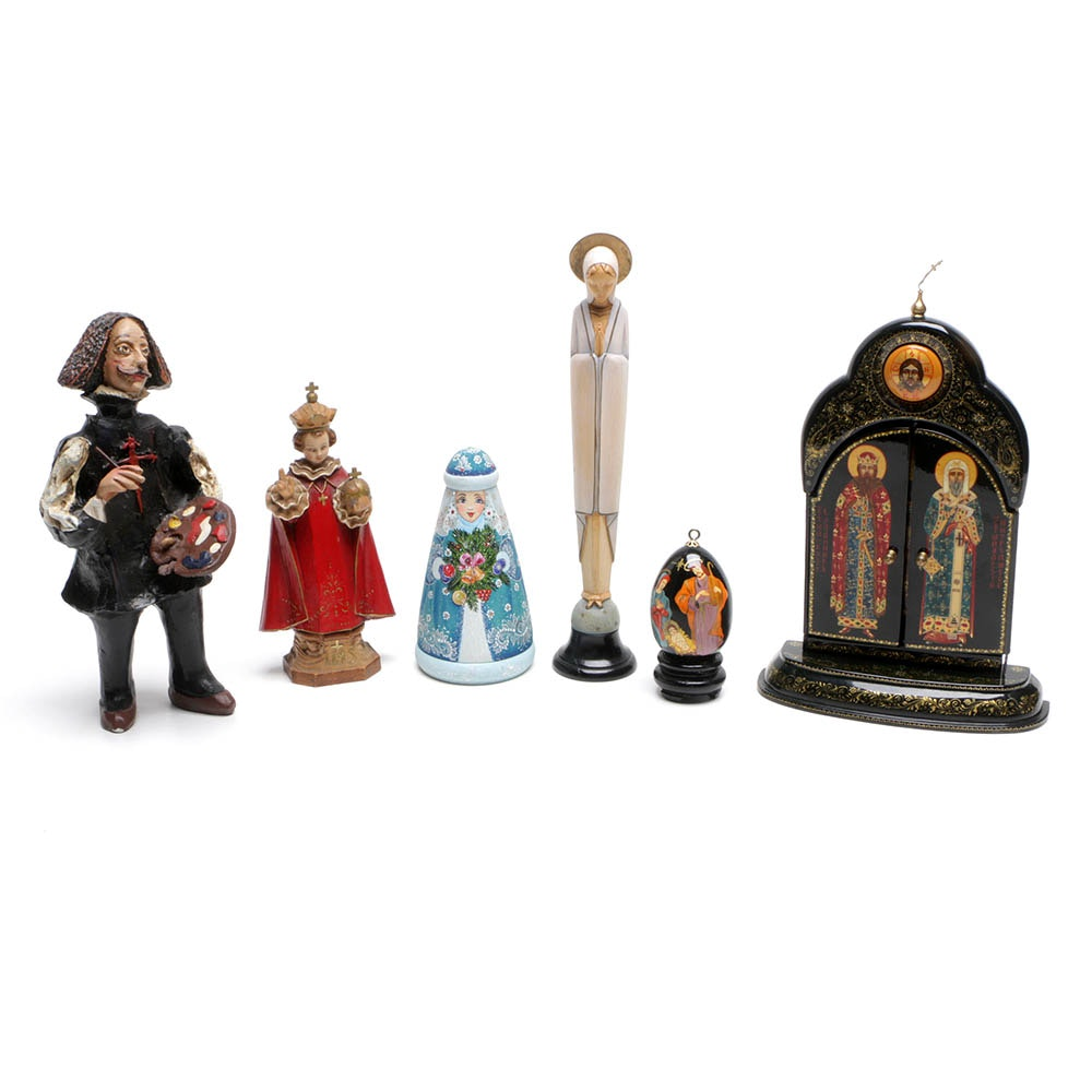 Assorted Religious Wood, Resin and Ceramic Figurines