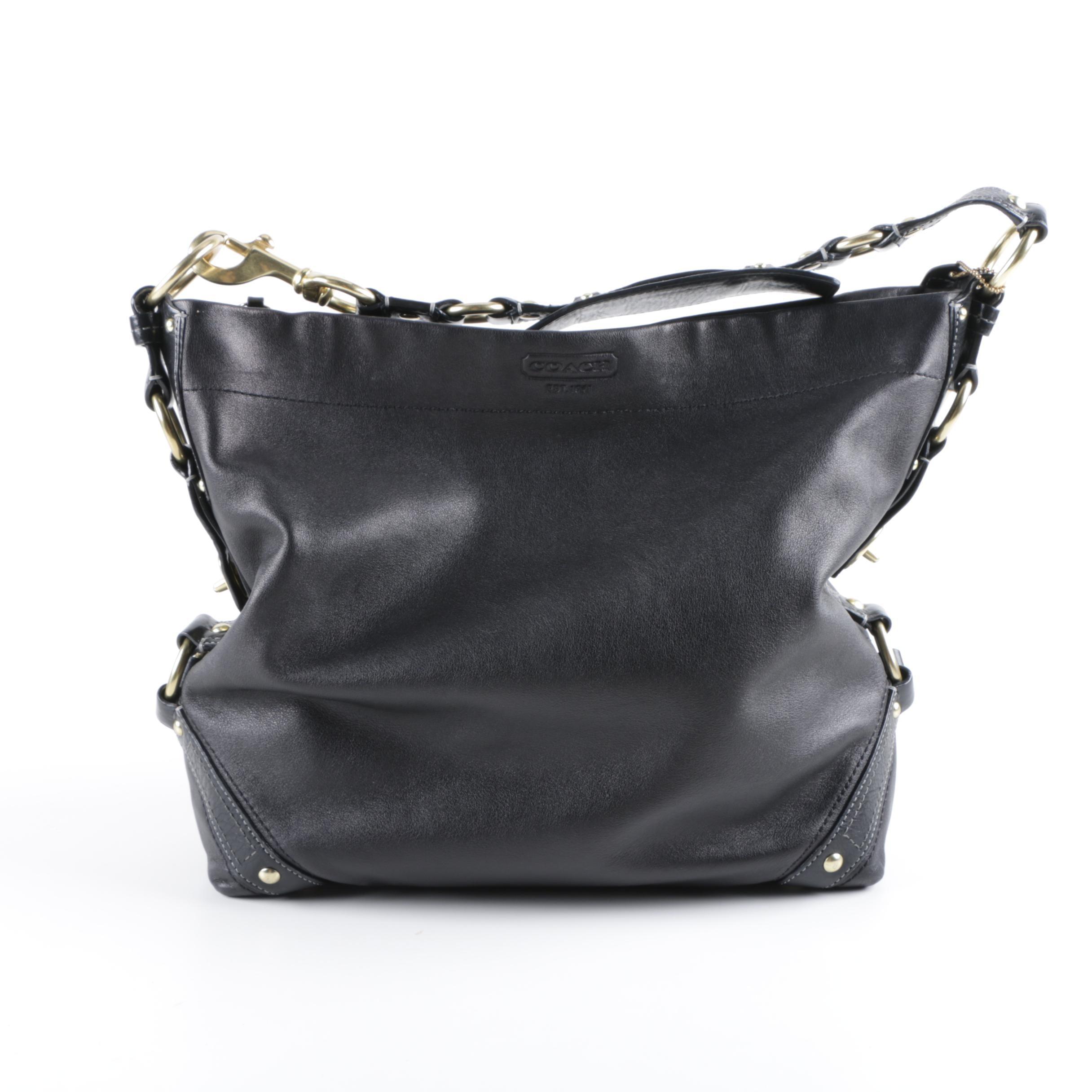 Coach Carly Black Leather Hobo Bag