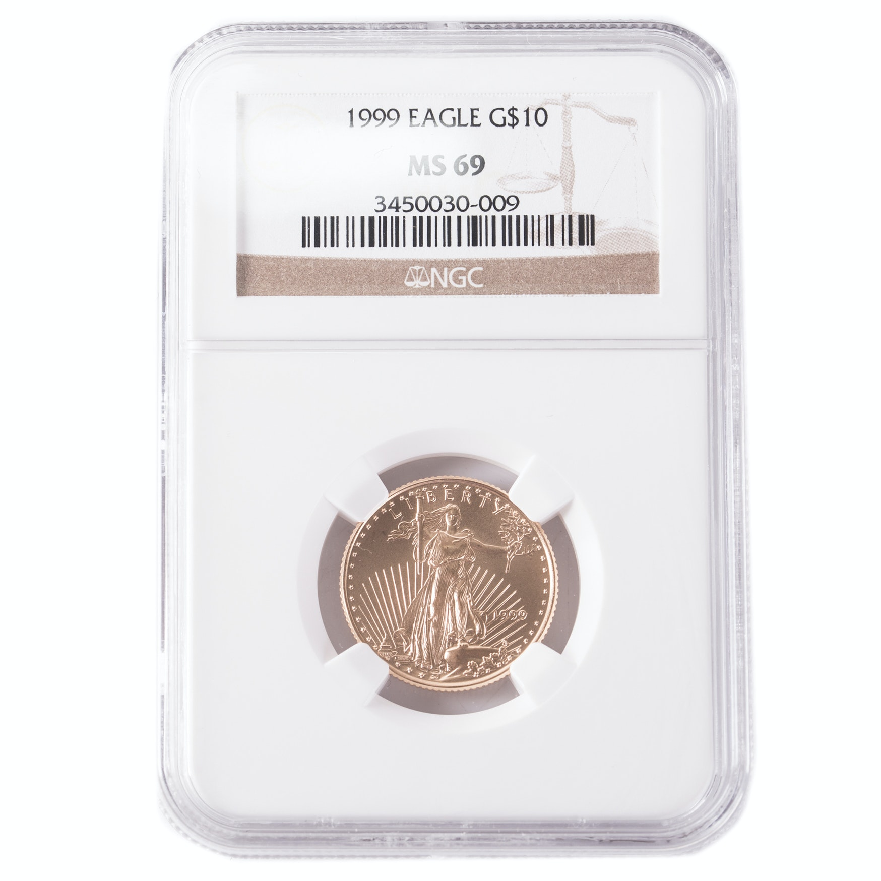 NGC Graded MS69 1999 American Eagle $10 Gold Bullion Coin