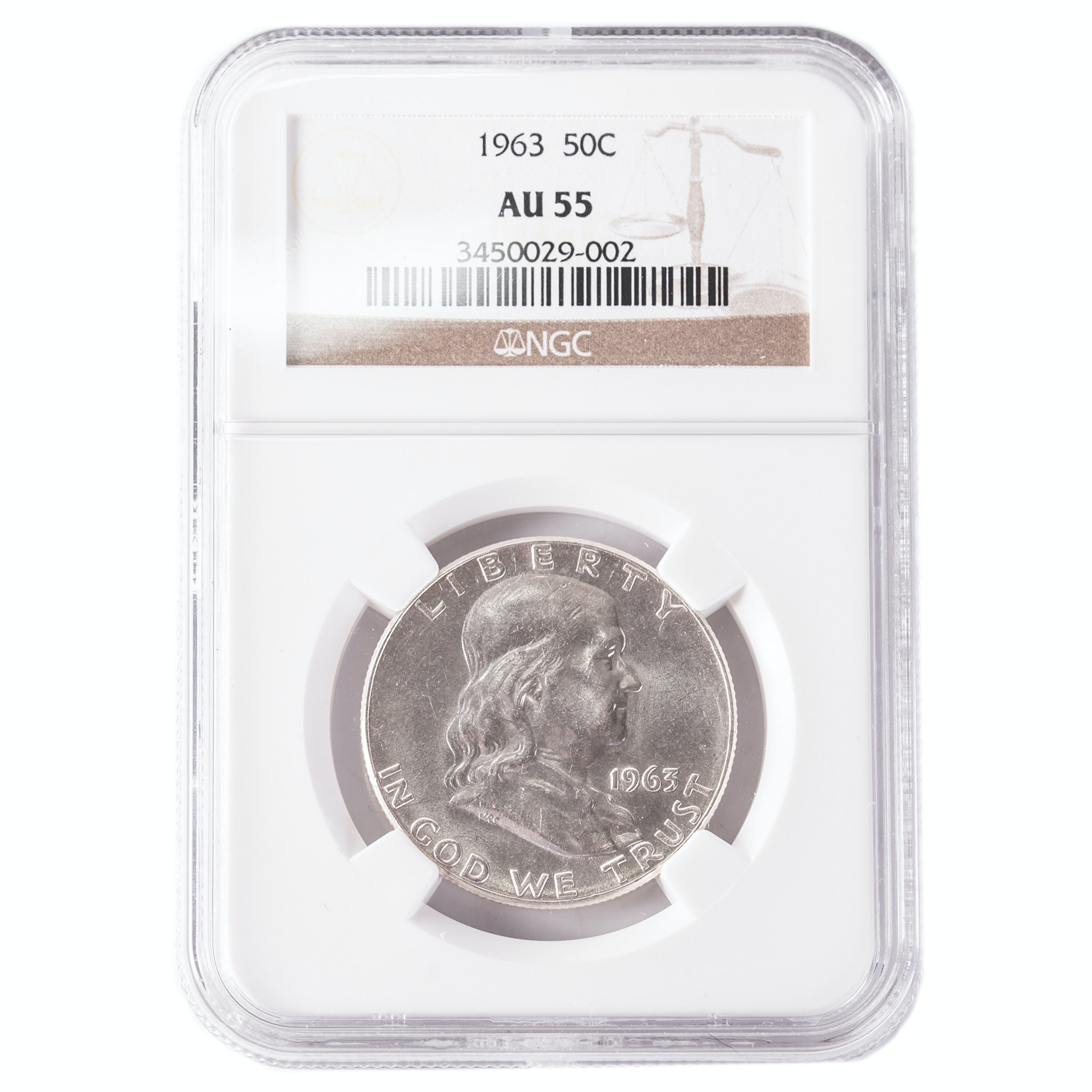 NCG Graded AU55 1963 Franklin Silver Half Dollar