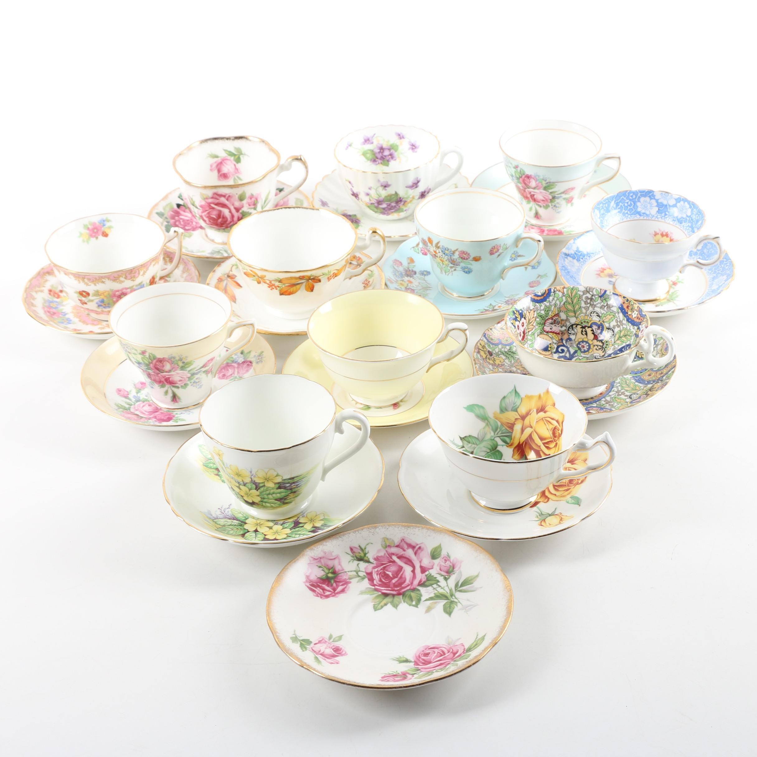 English Bone China Teacups and Saucers including Adderley