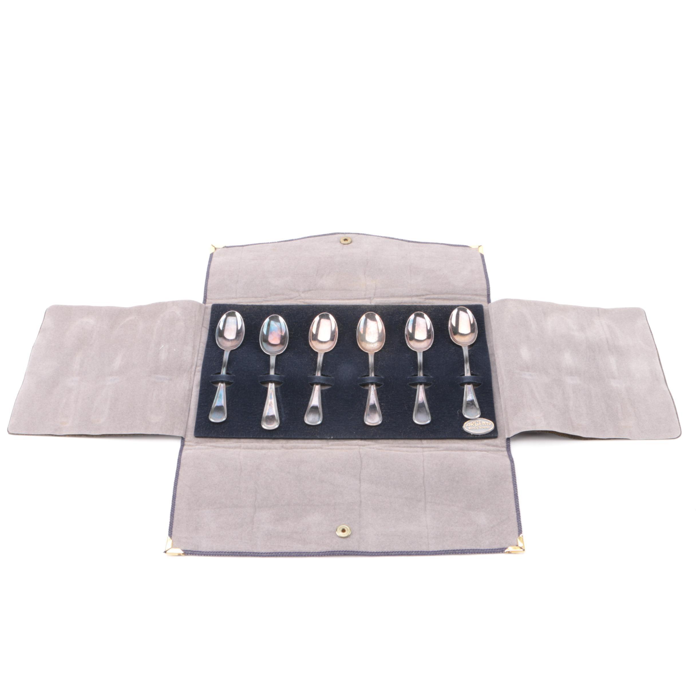 Argento Italian 800 Silver Demitasse Spoon Set