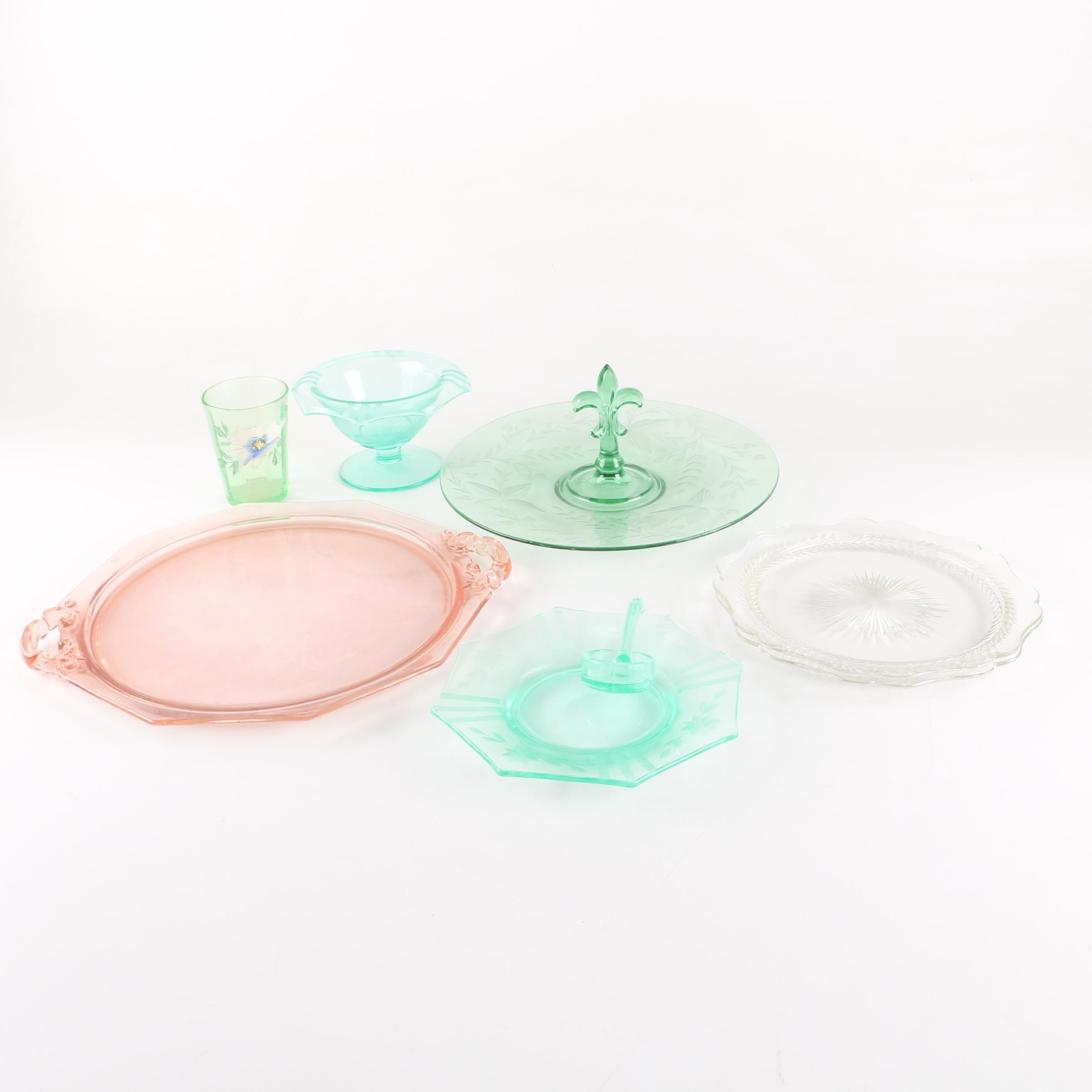 Depression and Etched Glass Serveware and Plates