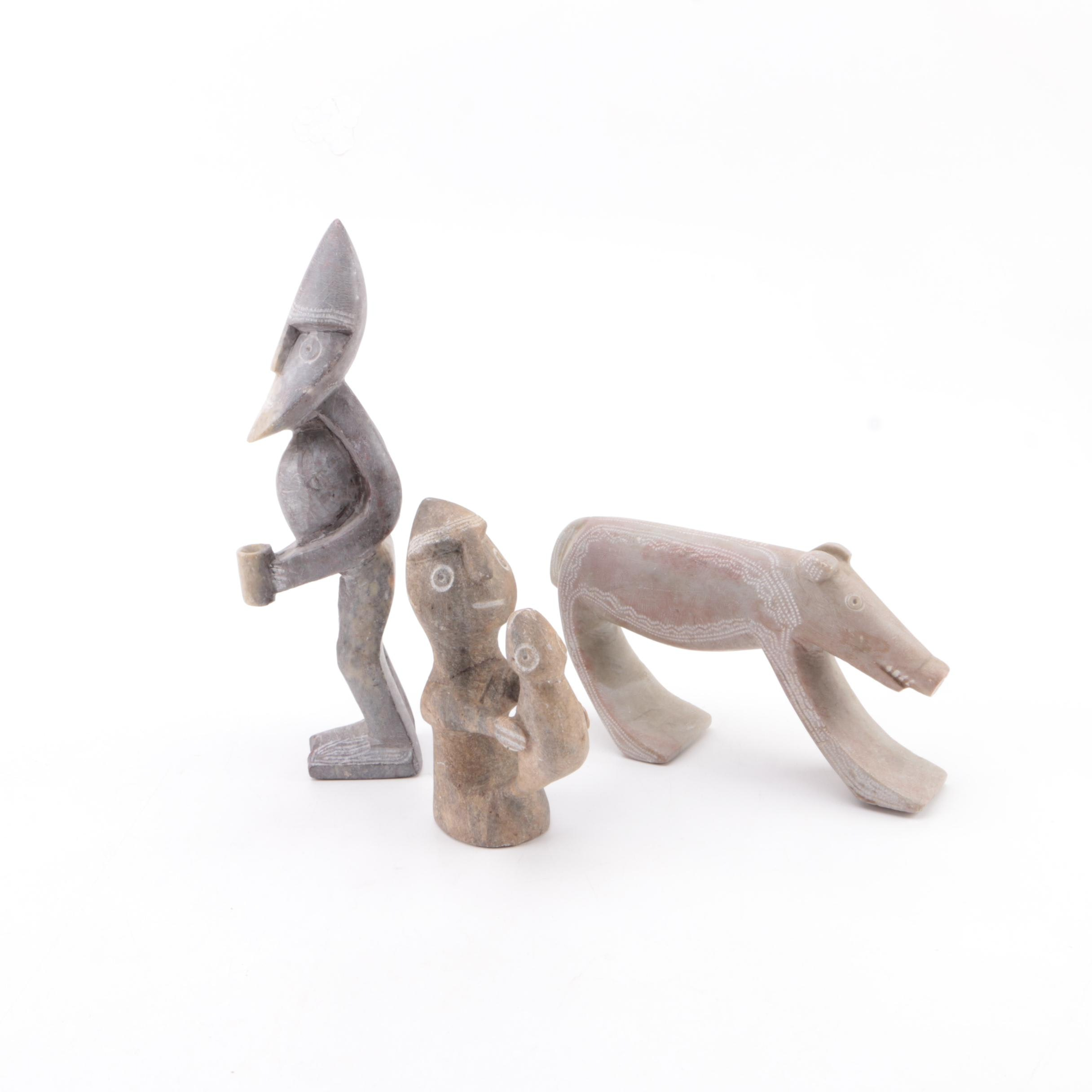 Southern African Style Carved Soapstone Figures