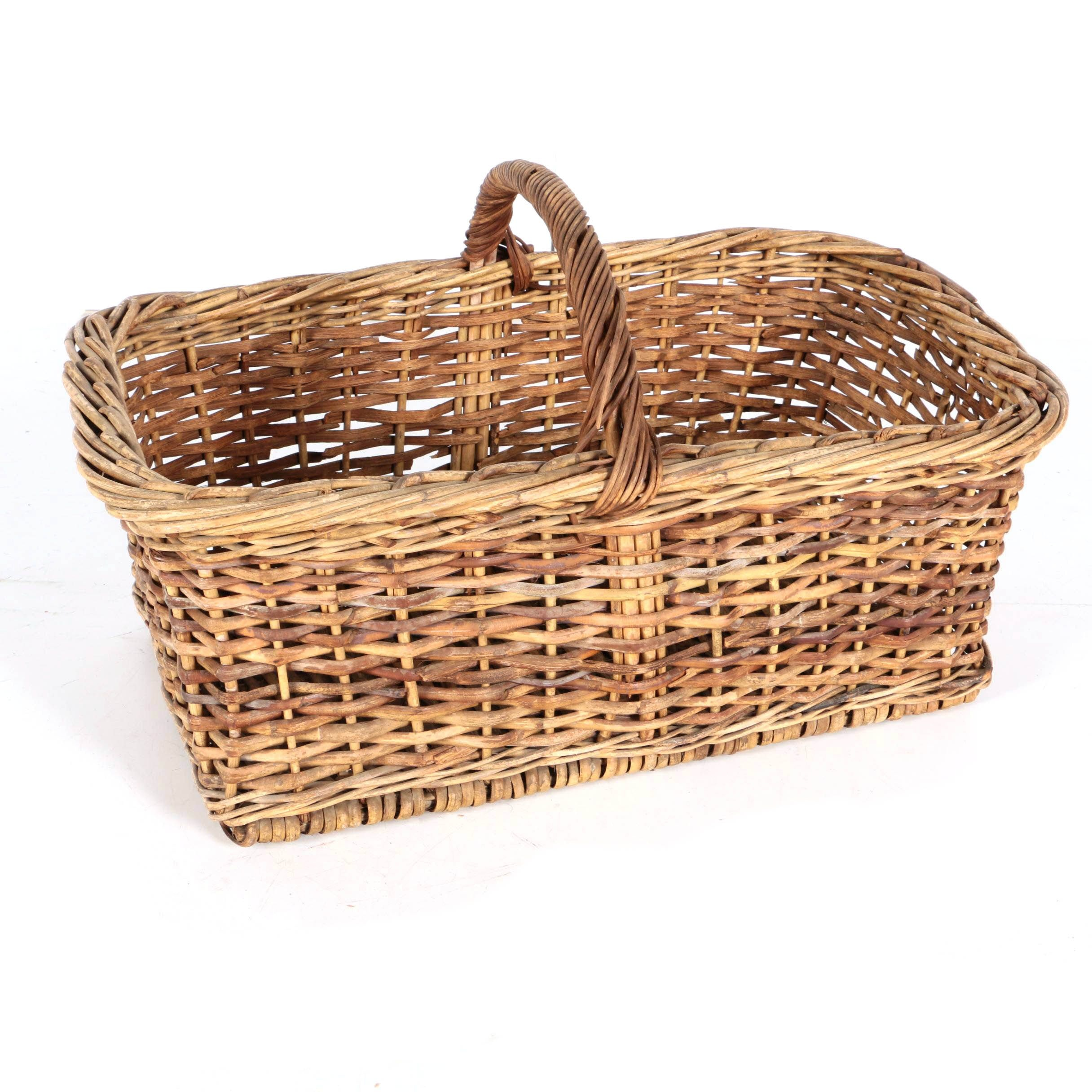 Woven Wicker Basket with Handle