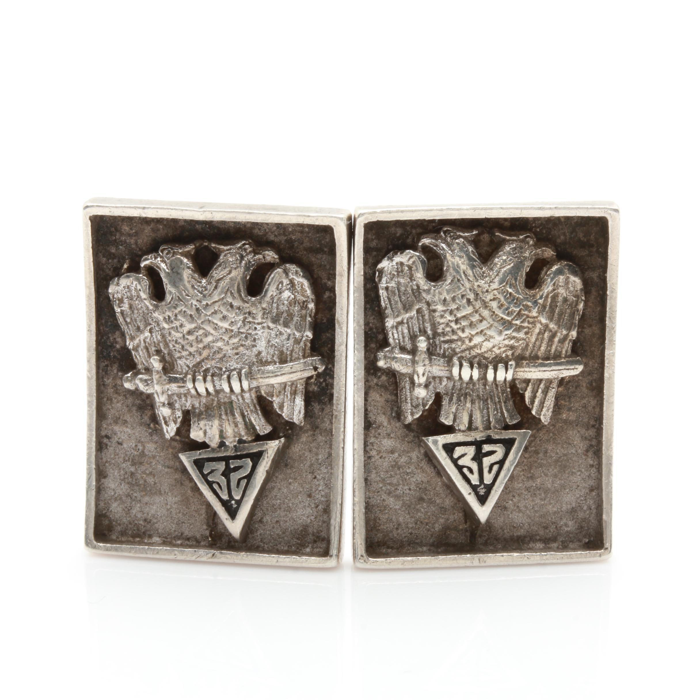 Vintage Sterling Silver Masonic Cufflinks