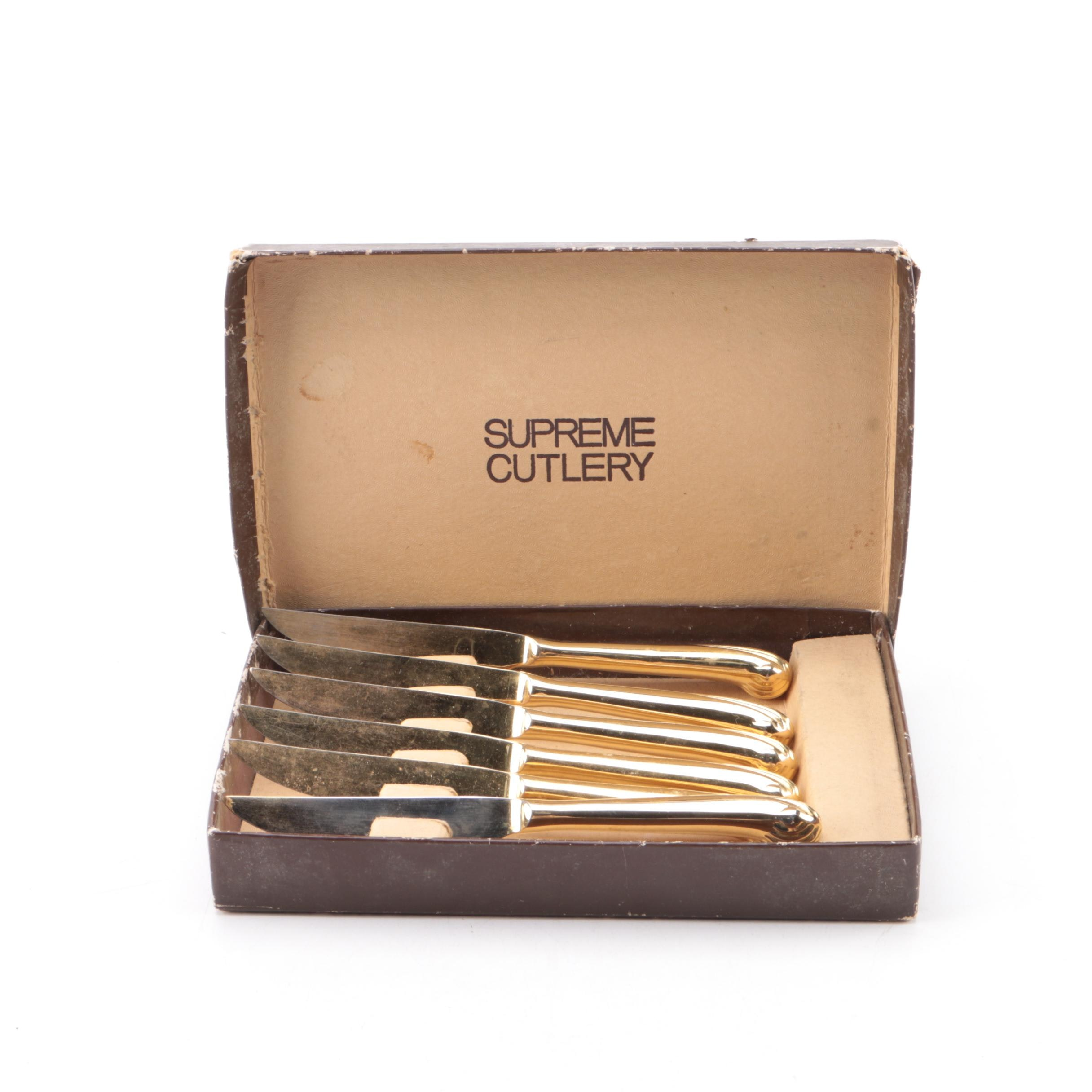 "Towle Supreme Cutlery ""Onslow"" Gold Plated Dinner Knife Set"