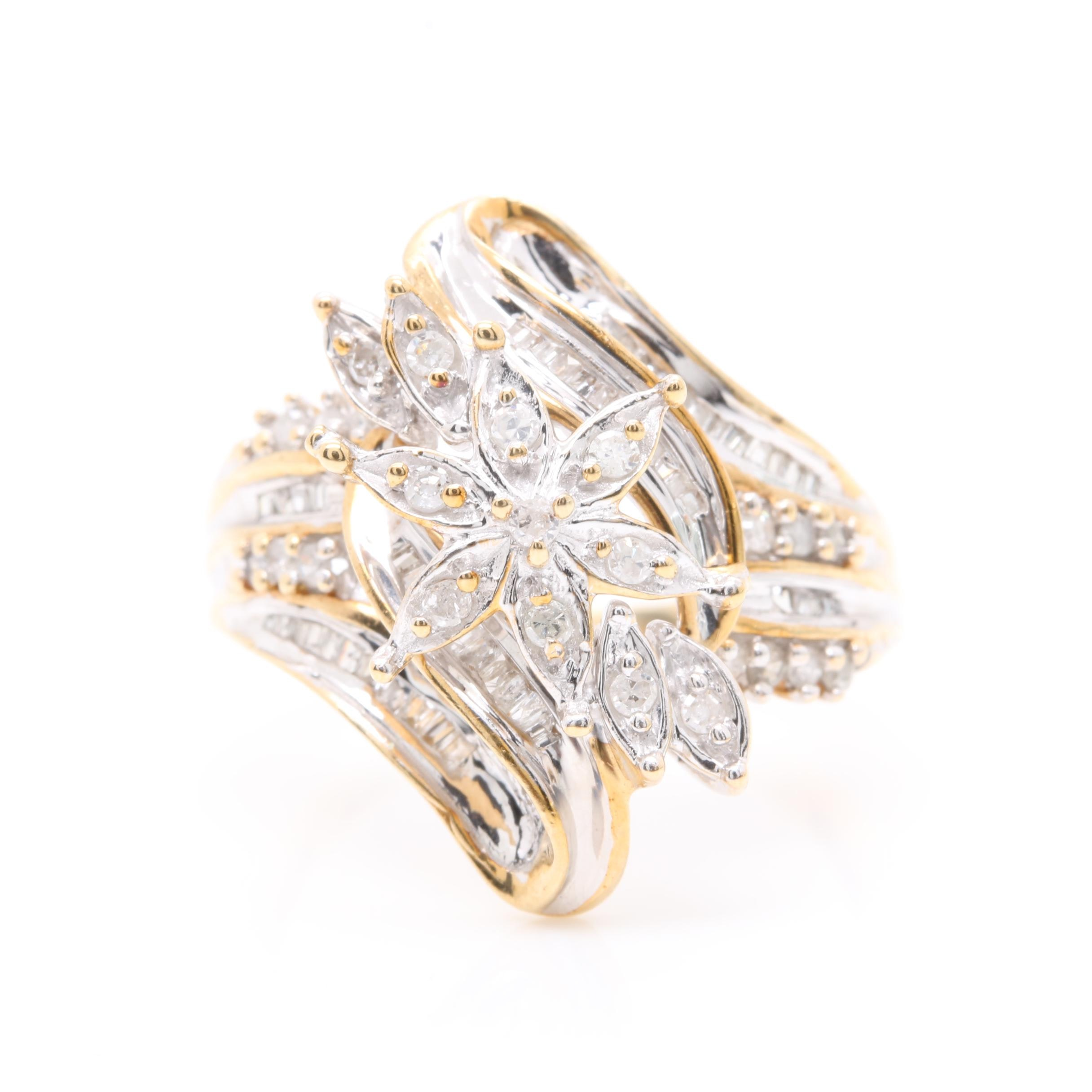 10K Yellow Gold Diamond Floral Ring with White Gold Accents